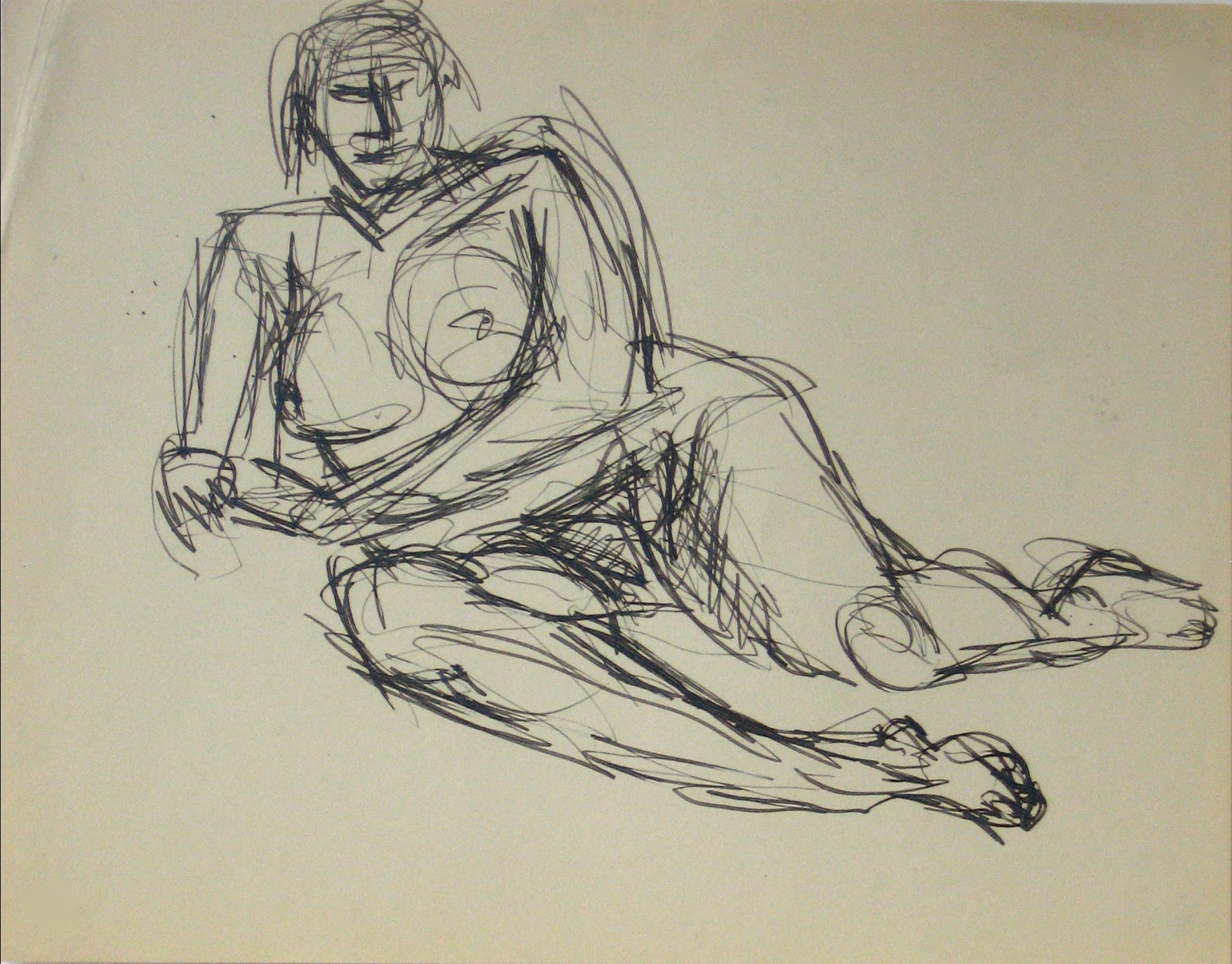 Abstracted Nude Figure Model <br>Early-Mid 20th Century Ink on Paper <br><br>#13635