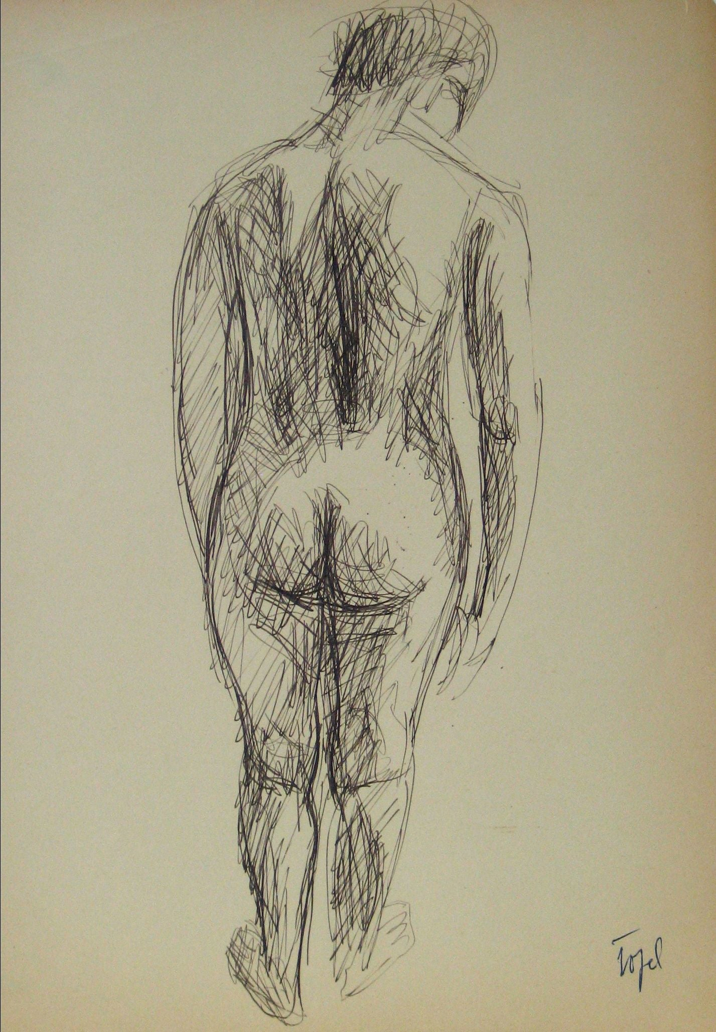 Abstracted Nude Figure Model <br>Early-Mid 20th Century Ink on Paper <br><br>#13652