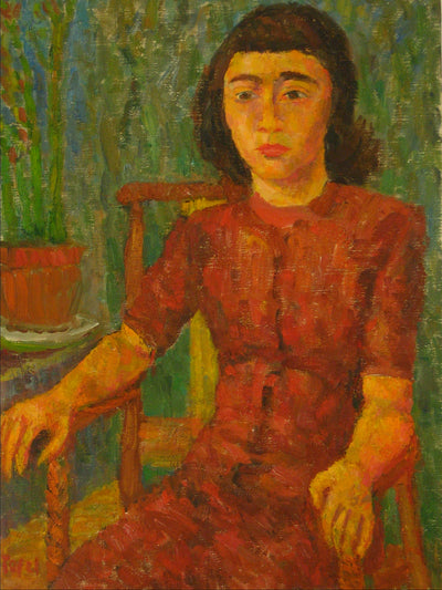 Expressionist Girl in Red <br>1940s Oil <br><br>#13667