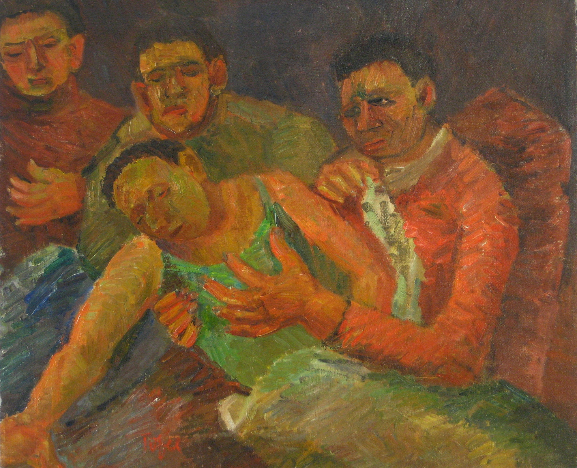 <i>Falling Man/Death of a Poet</i><br>1942 Oil<br><br>#13956