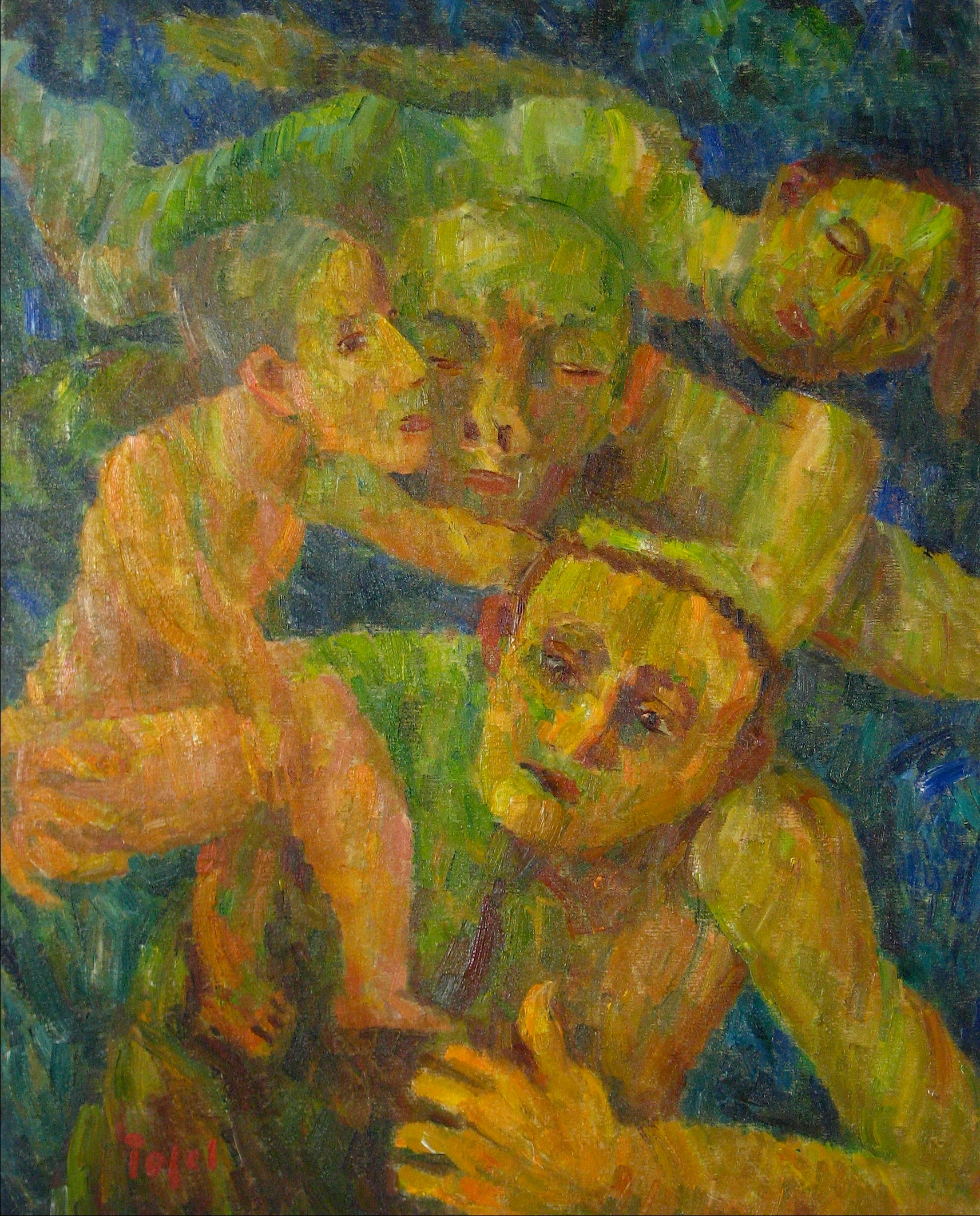 <i>Rescue</i><br>1951 Expressionist Oil<br><br>#13988