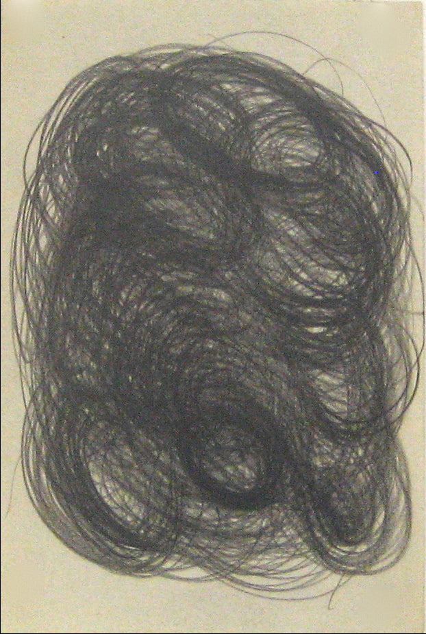 Small Swirled Graphite Abstract <br> Early-Mid 20th Century <br><br>#14045