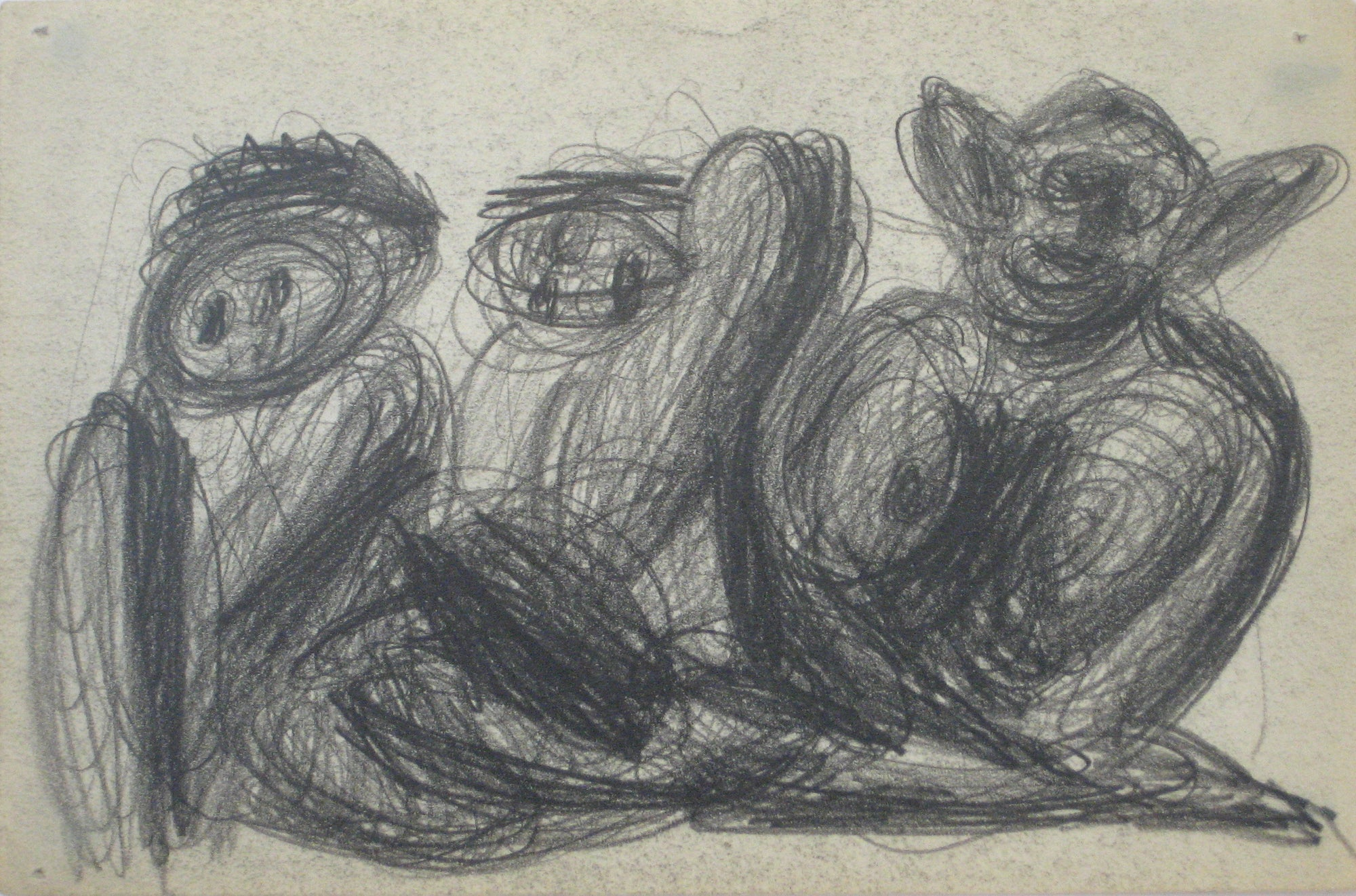 Swirled Abstract Graphite Figures <br>Early-Mid 20th Century <br><br>#14080