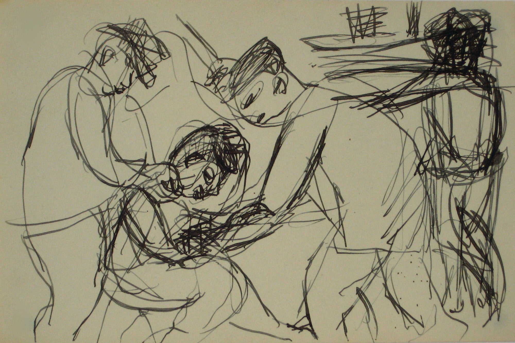 Loose Sketch of Figures in a Scene<br>Early-Mid 20th Century Ink <br><br>#14110