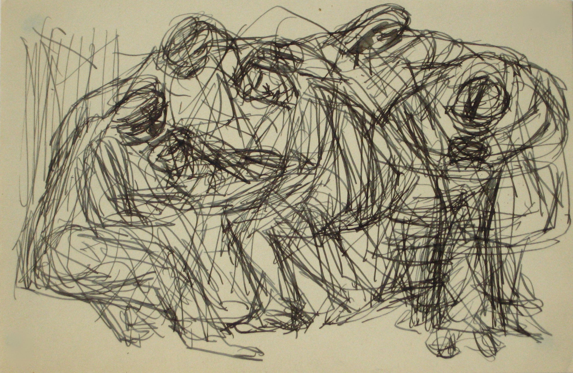 Abstracted Figures in a Huddle <br>Early-Mid 20th Century Ink on Paper <br><br>#14113