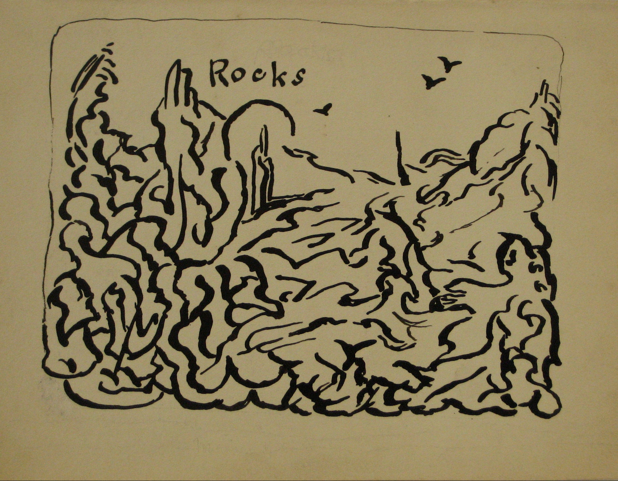 <i>Rocks</i><br>Early-Mid 20th Century Ink<br><br>#14128