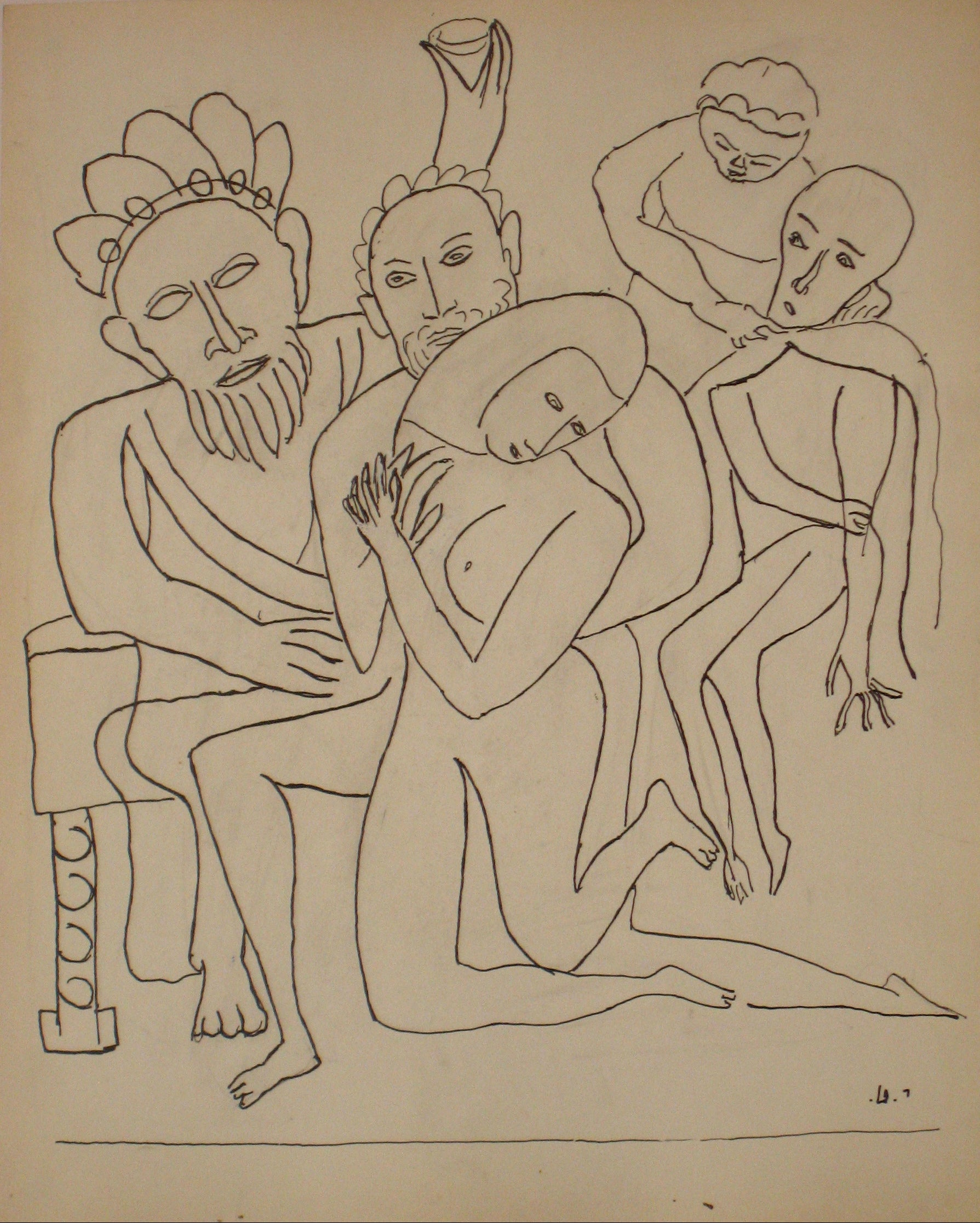 Interconnected Figures <br>Early to Mid 20th Century Ink on Paper <br><br>#14198