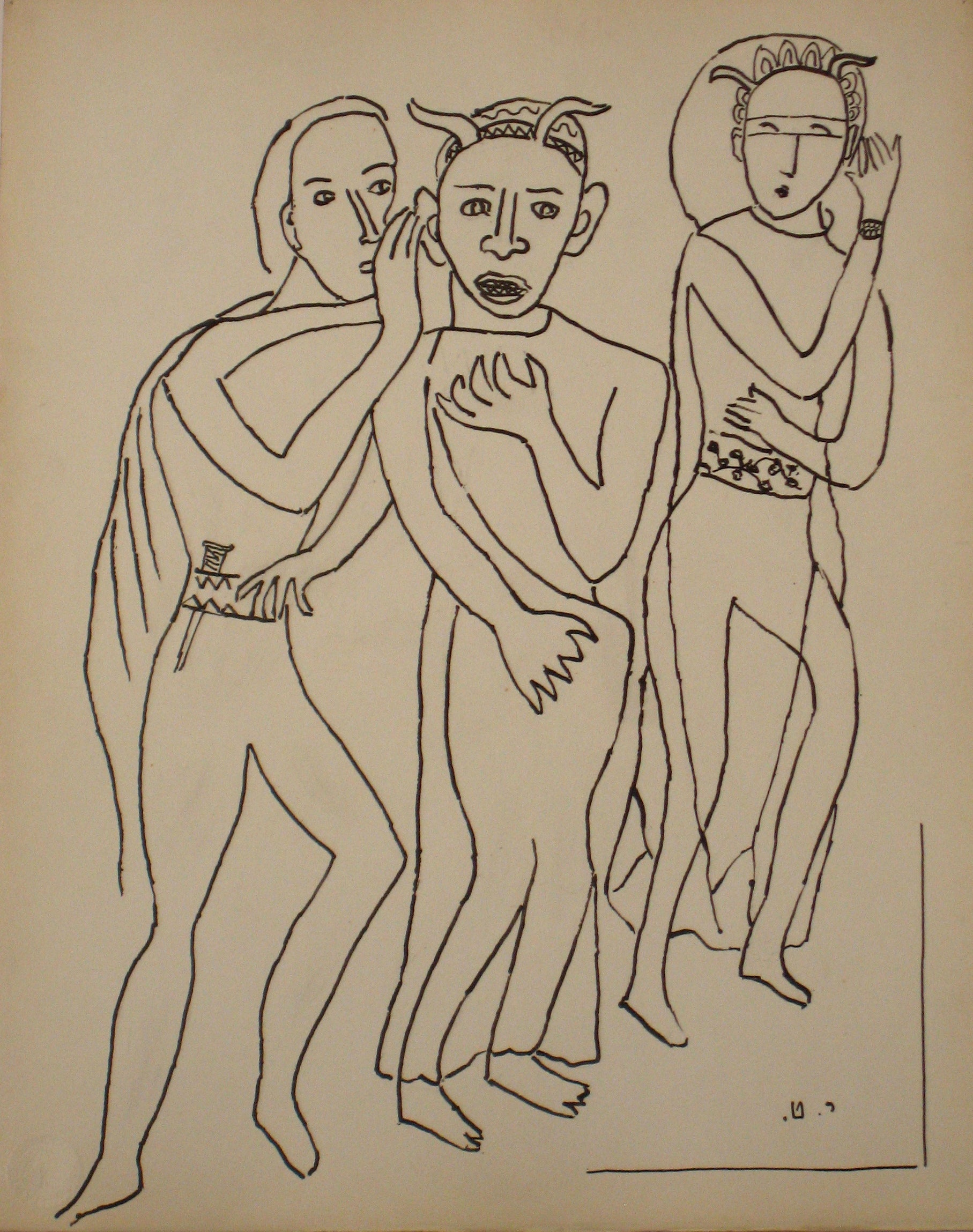 Expressionist Figures <br>Early to Mid 20th Century Ink on Paper <br><br>#14199