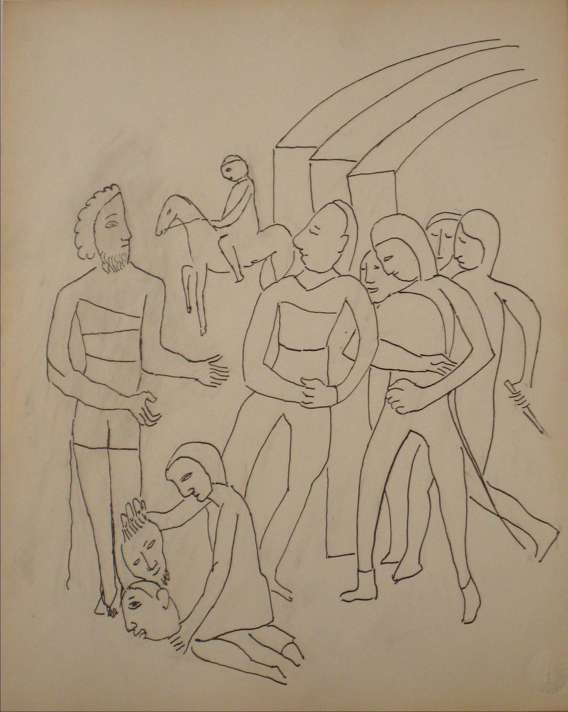 Expressionist Biblical Figure Scene <br>Early to Mid 20th Century Ink on Paper <br><br>#14200