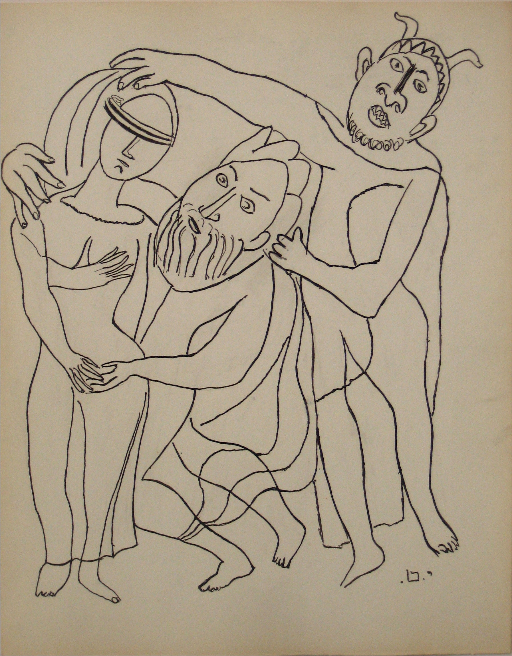 Linear Ink Figure Scene <br>Early to Mid 20th Century Ink on Paper <br><br>#14201