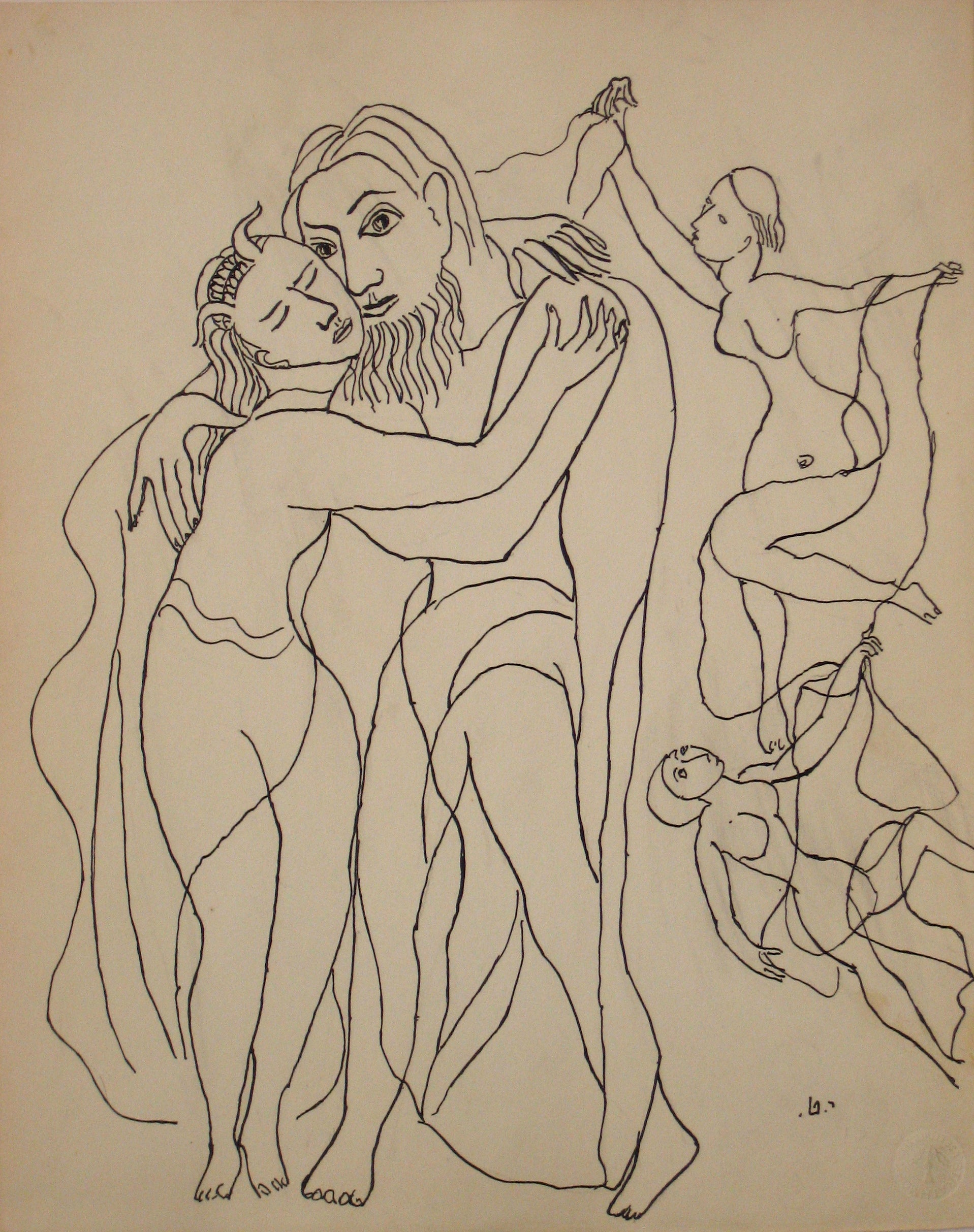 Expressionist Embrace <br>Early to Mid 20th Century Ink on Paper <br><br>#14204
