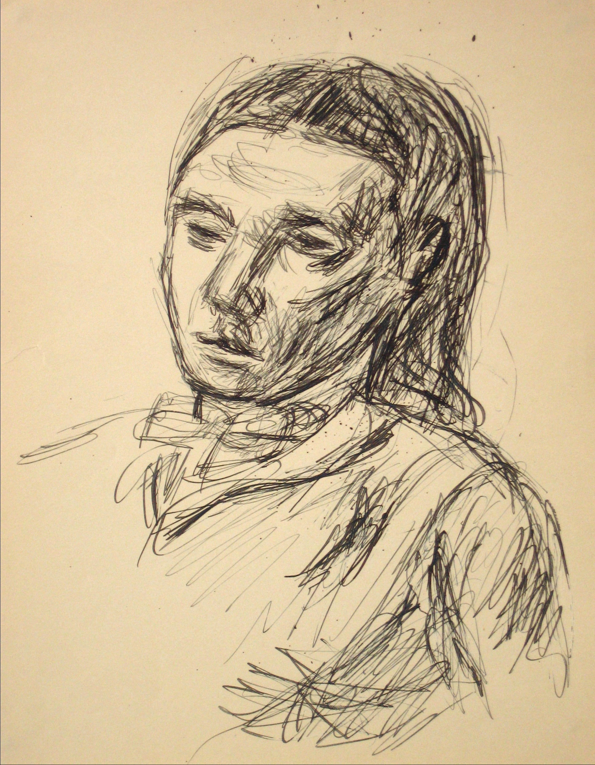 Portrait Drawing <br>Early to Mid 20th Century Ink on Paper <br><br>#14285