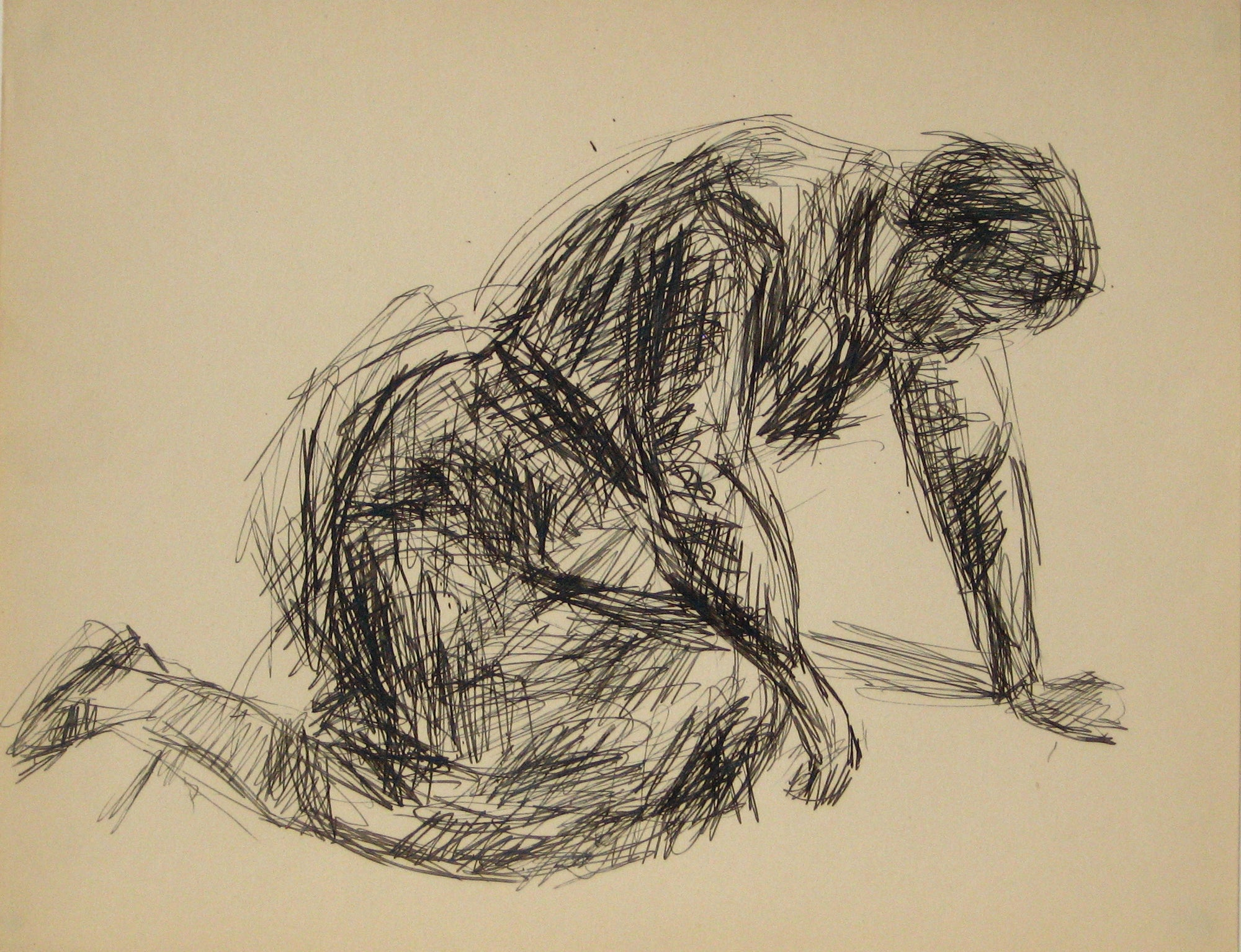 Female Figure Drawing Sketch<br>Early to Mid 20th Century Ink on Paper <br><br>#14288