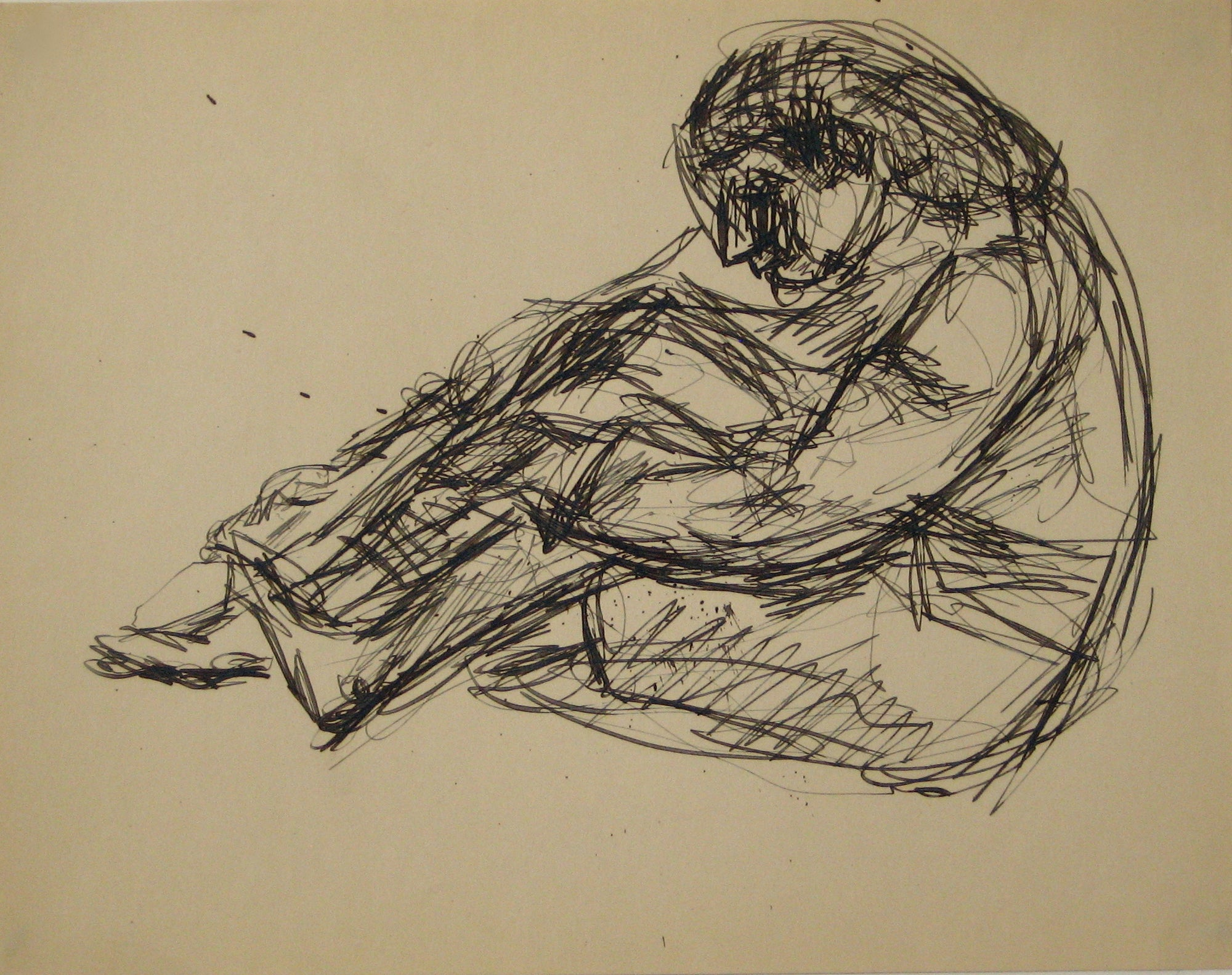 Seated Monochrome Figure Sketch <br>Early to Mid 20th Century Ink on Paper <br><br>#14289