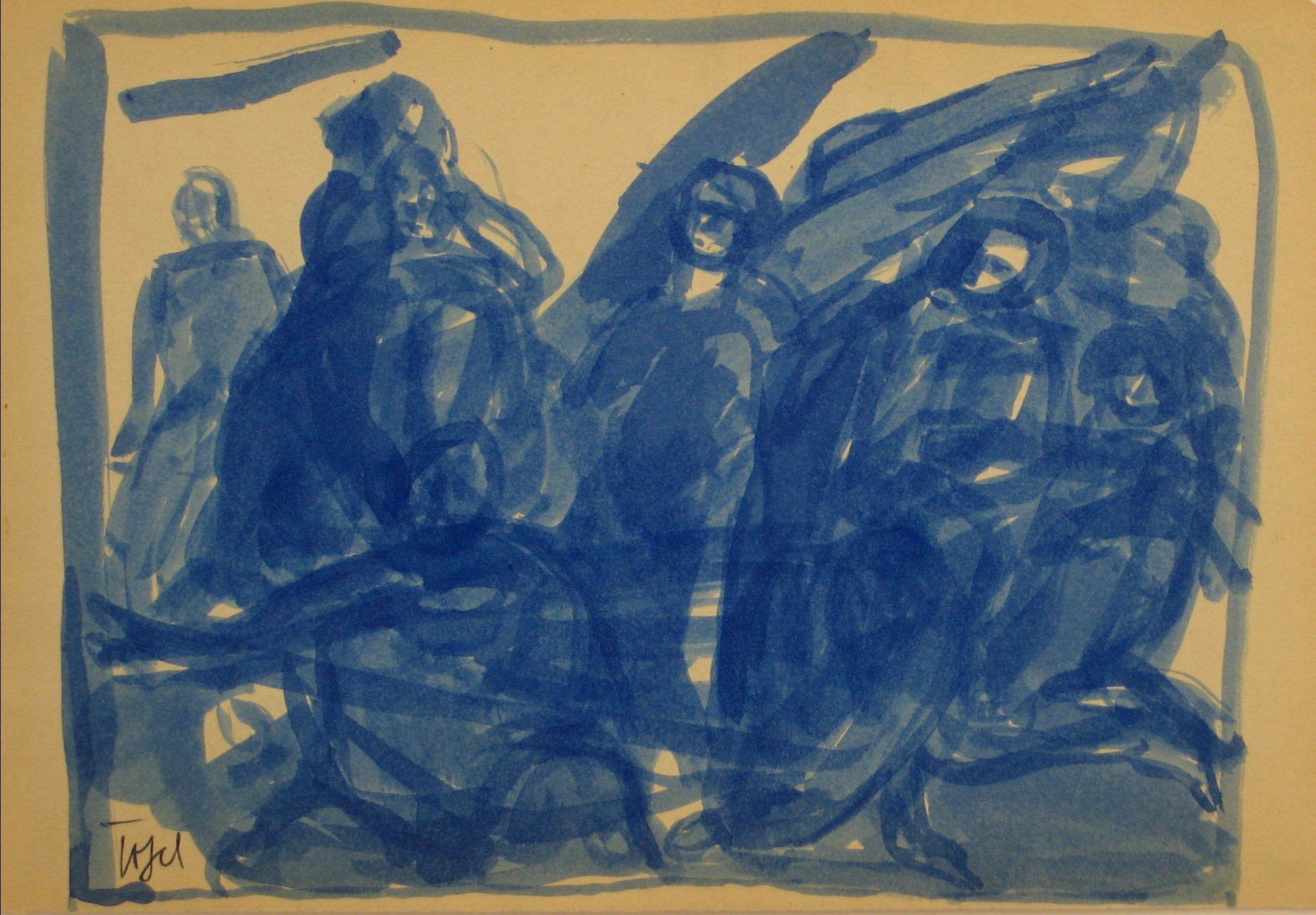 Expressionist Abstracted Figures<br>Early-Mid 20th Century Ink Wash<br><br>#14340