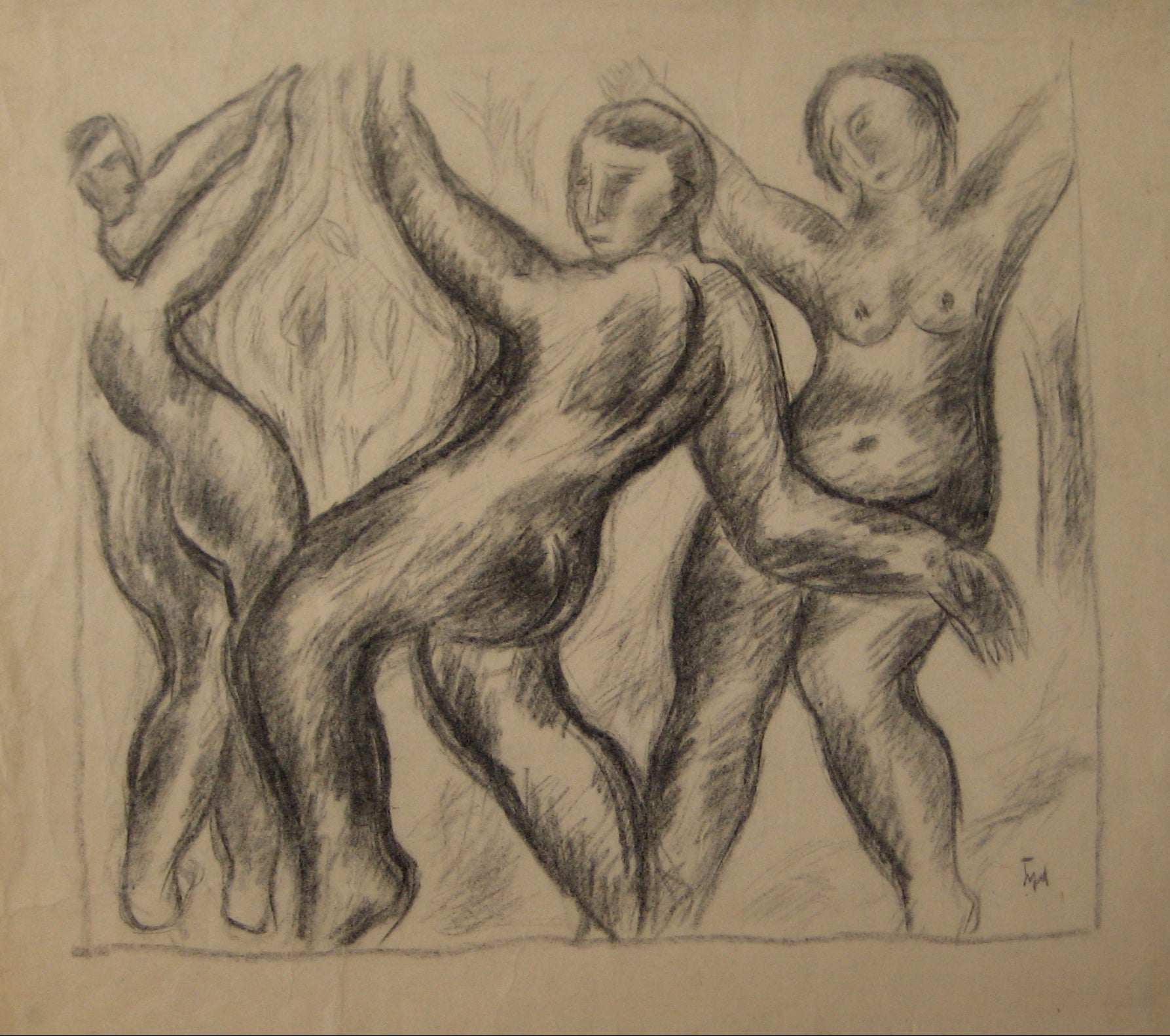 Expressionist Abstracted Figures<br>Early-Mid 20th Century Charcoal on Paper<br><br>#14358