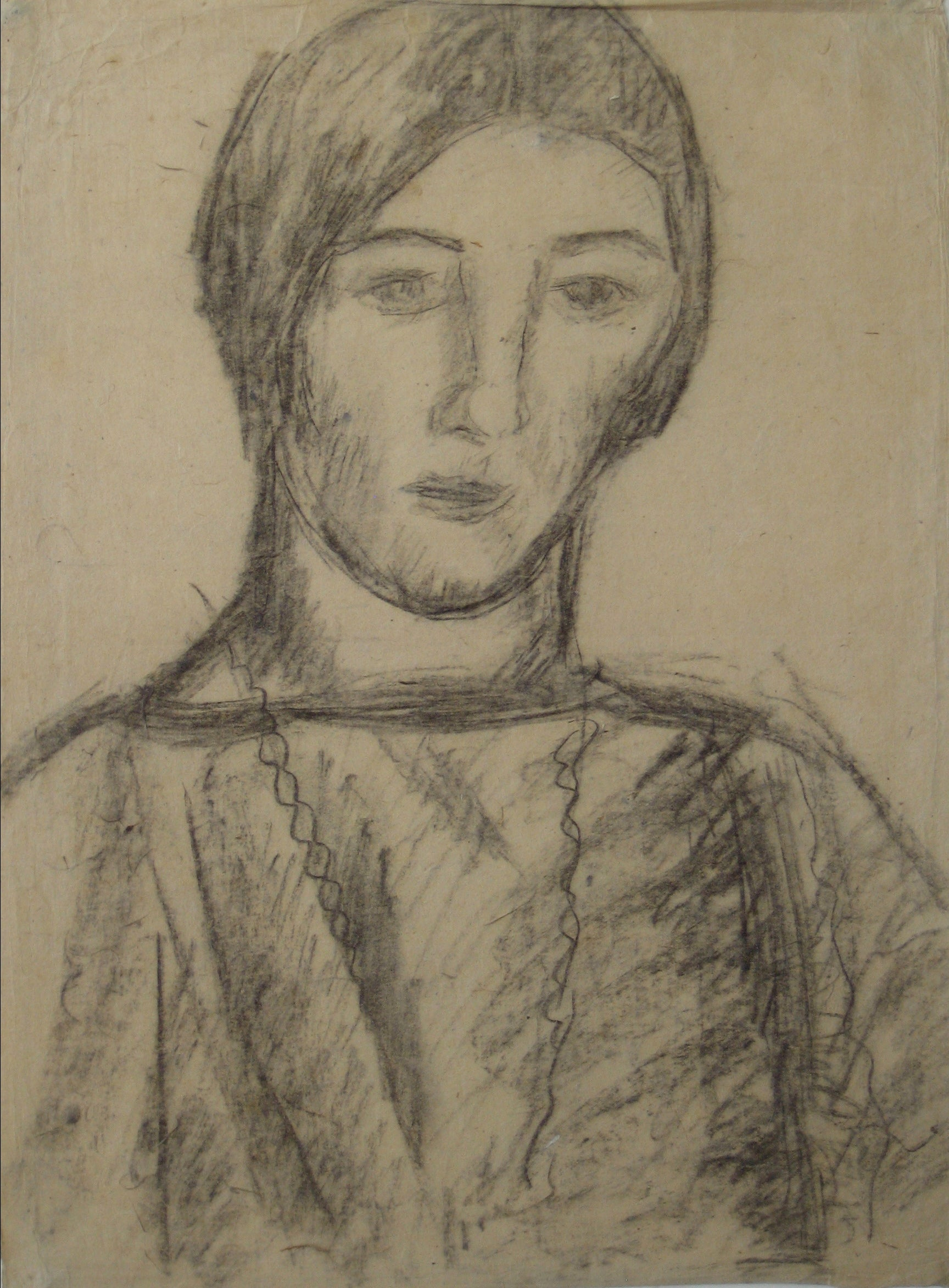 Portrait of a Woman in Charcoal <br>Early-Mid 20th Century<br><br>#14362