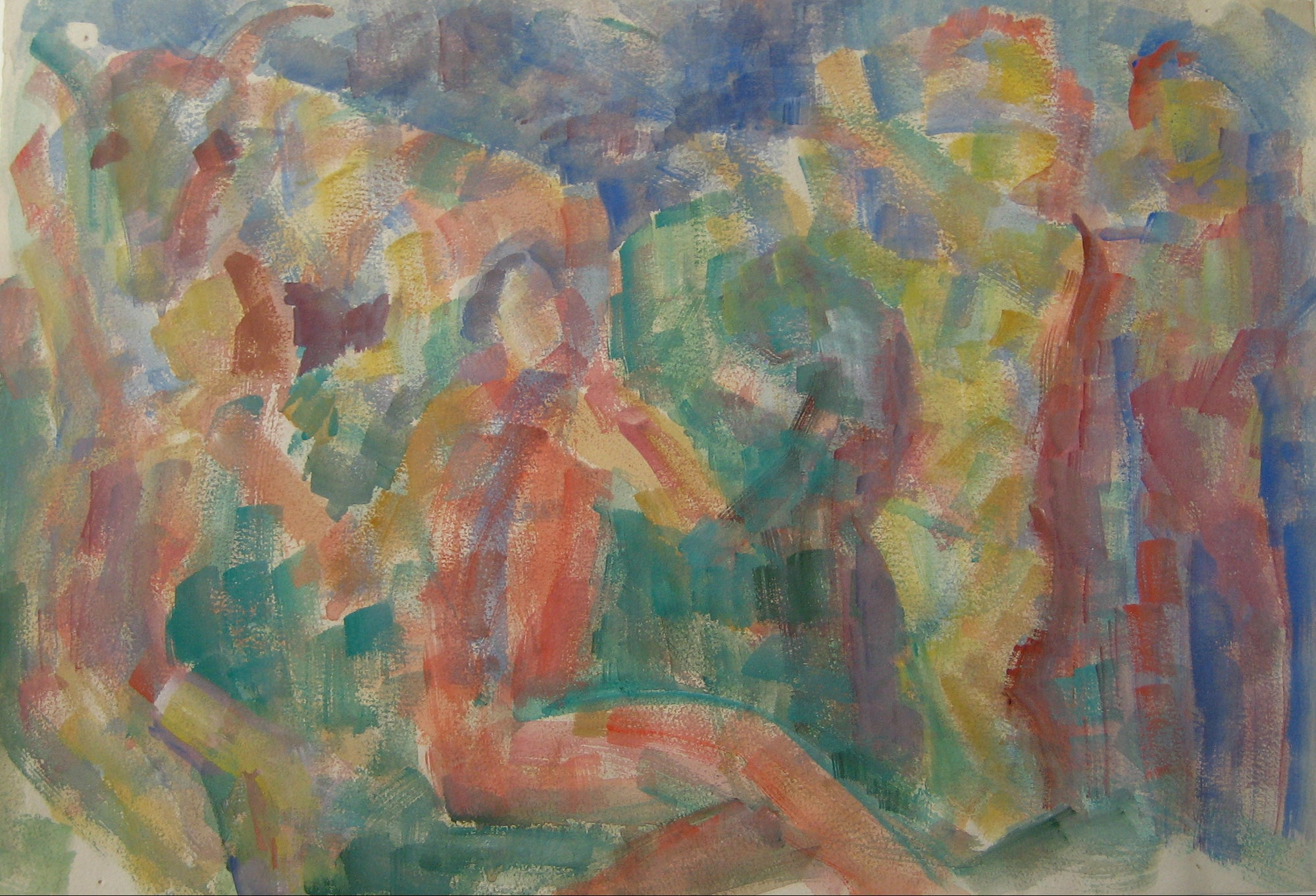 Colorful Expressionist Figure Abstract<br>Early-Mid 20th Century Watercolor<br><br>#14372