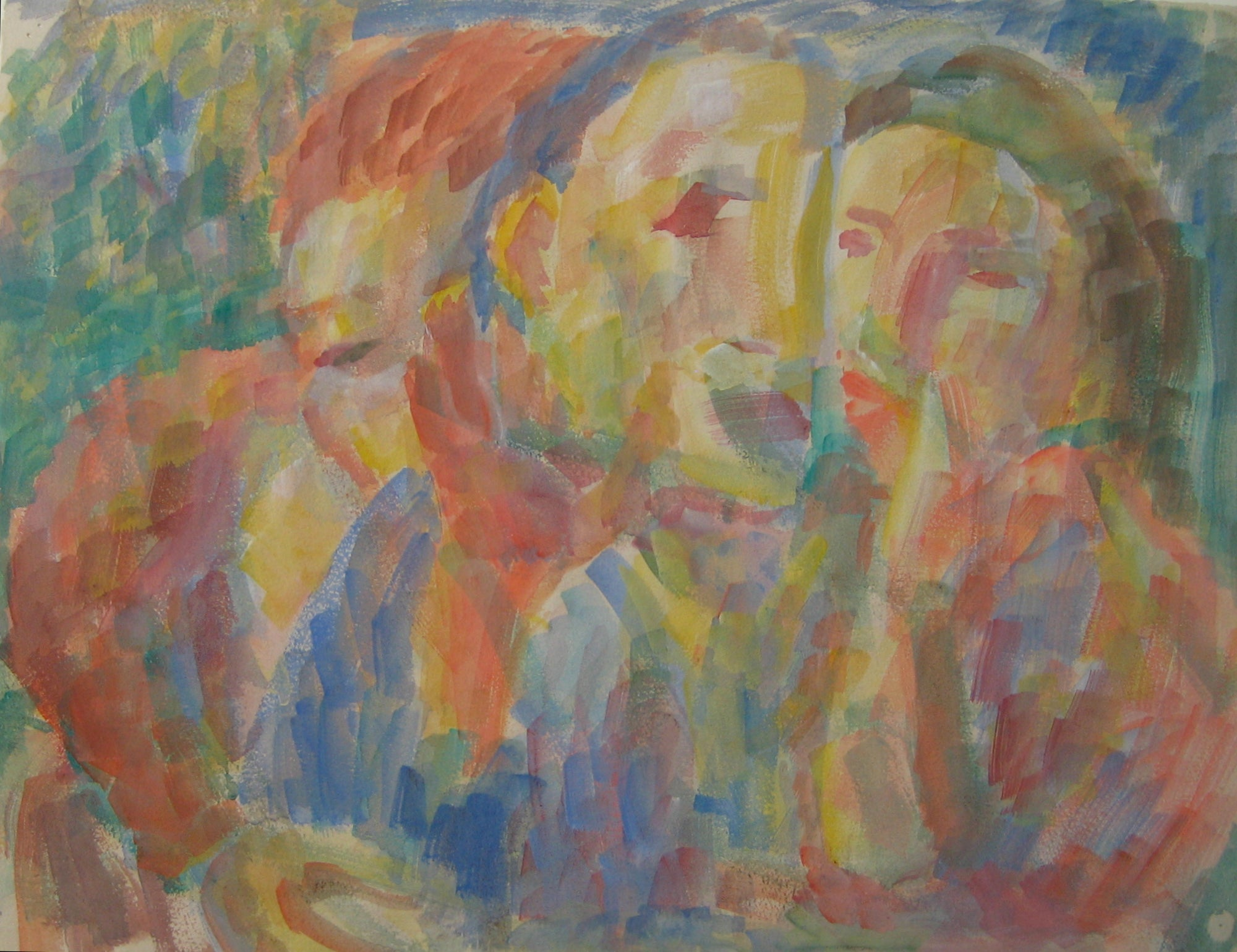 Abstracted Colorful Expressionist Figures <br>Early-Mid 20th Century Watercolor<br><br>#14375