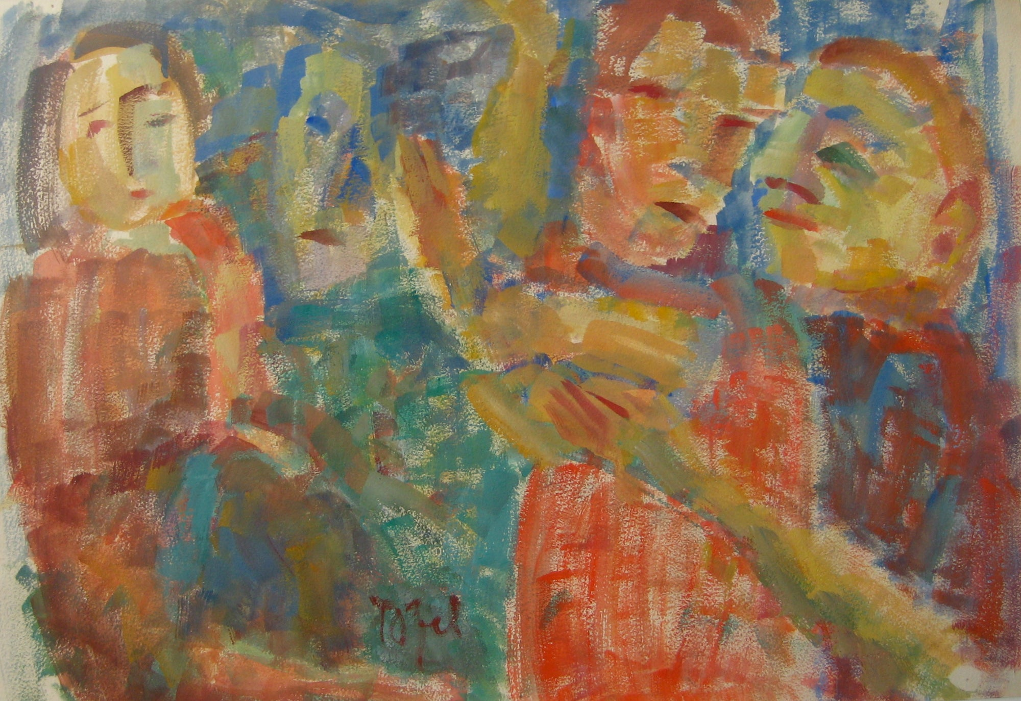 Colorful Expressionist Figure Abstract<br>Early-Mid 20th Century Watercolor<br><br>#14376