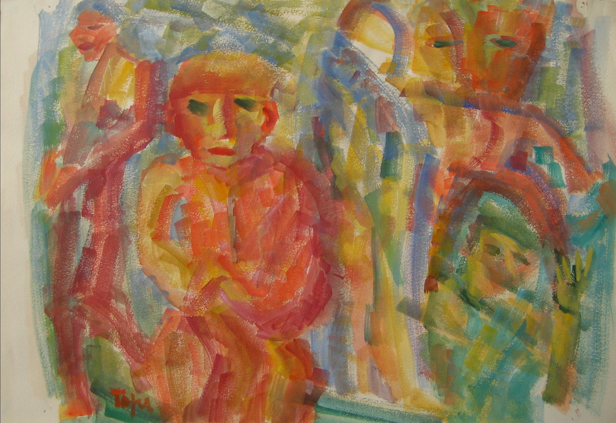 Colorful Expressionist Figure Abstract<br>Early-Mid 20th Century Watercolor<br><br>#14380