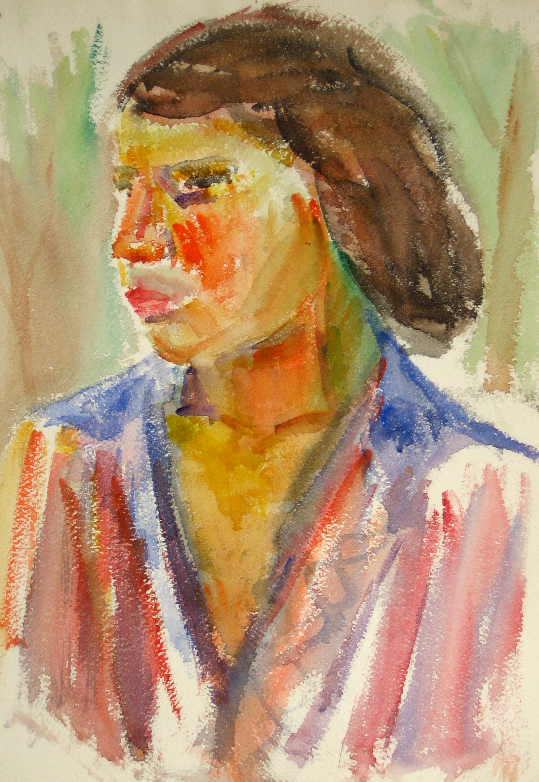 Colorful Expressionist Portrait <br>Mid 20th Century Watercolor<br><br>#15091