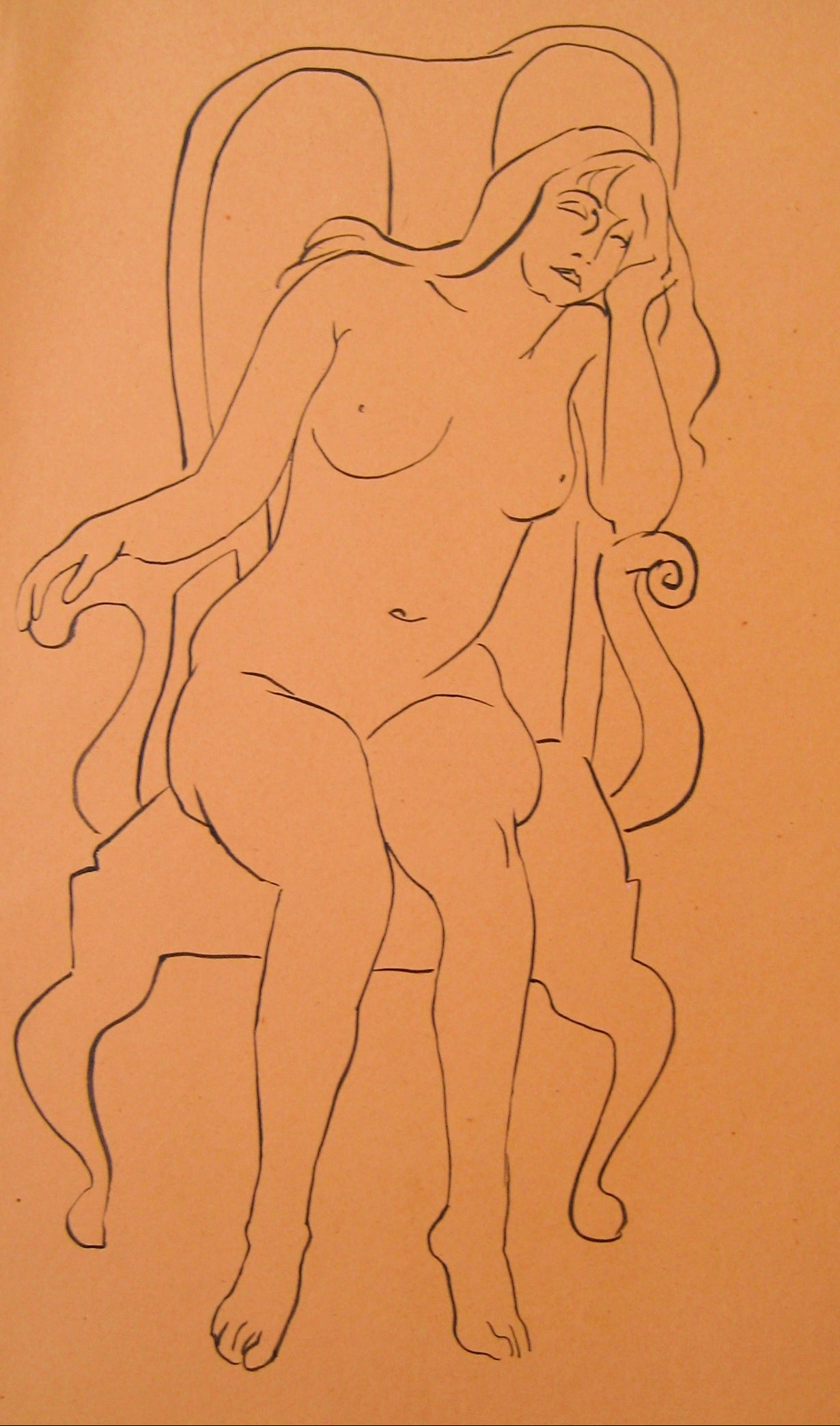 Seated Female Nude<br>1930-50s Pen & Ink<br><br>#15964
