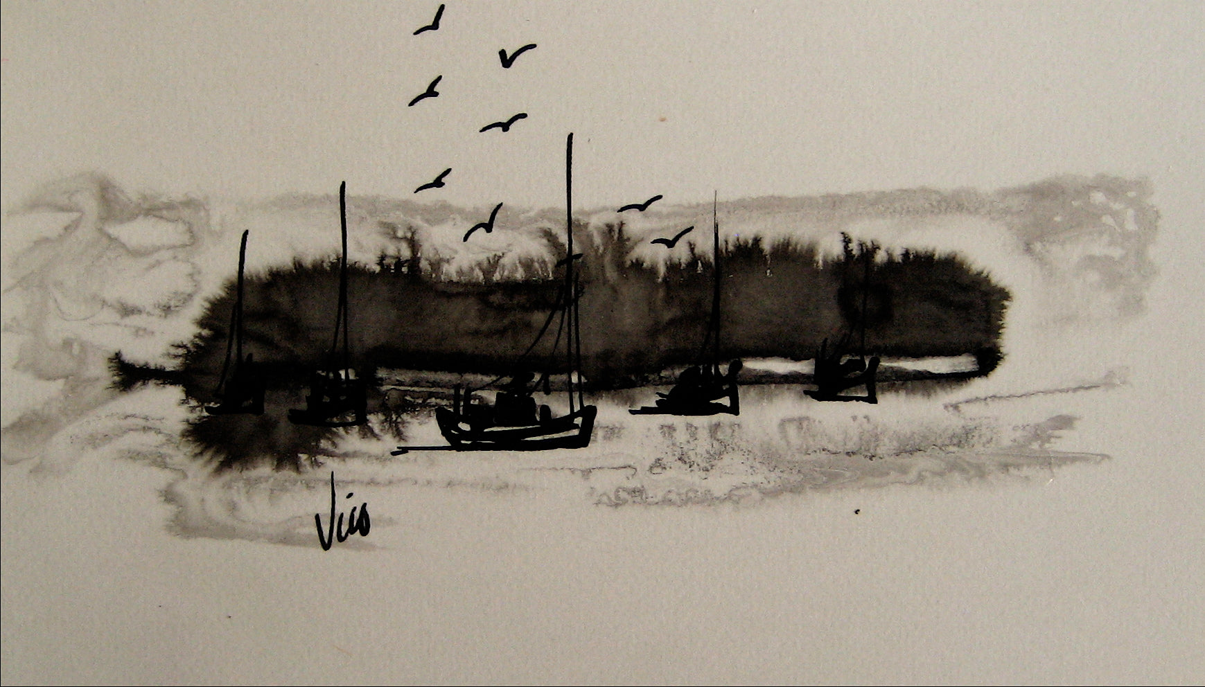 Modernist Coastal Abstract<br>Ink Wash, 1960s<br><br>#16223