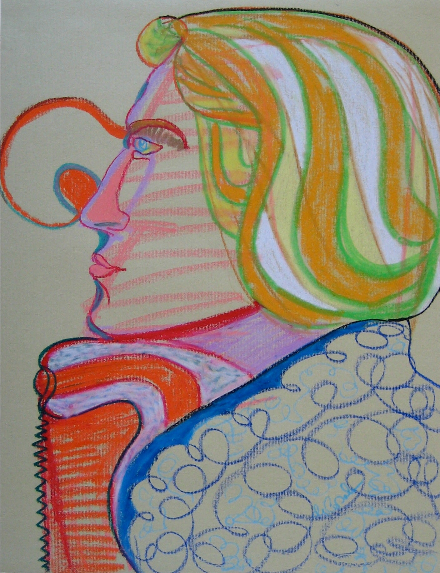Serene Profile In Psychedelic Colors <br>Mid - Late 20th Century Pastel <br><br>#16395