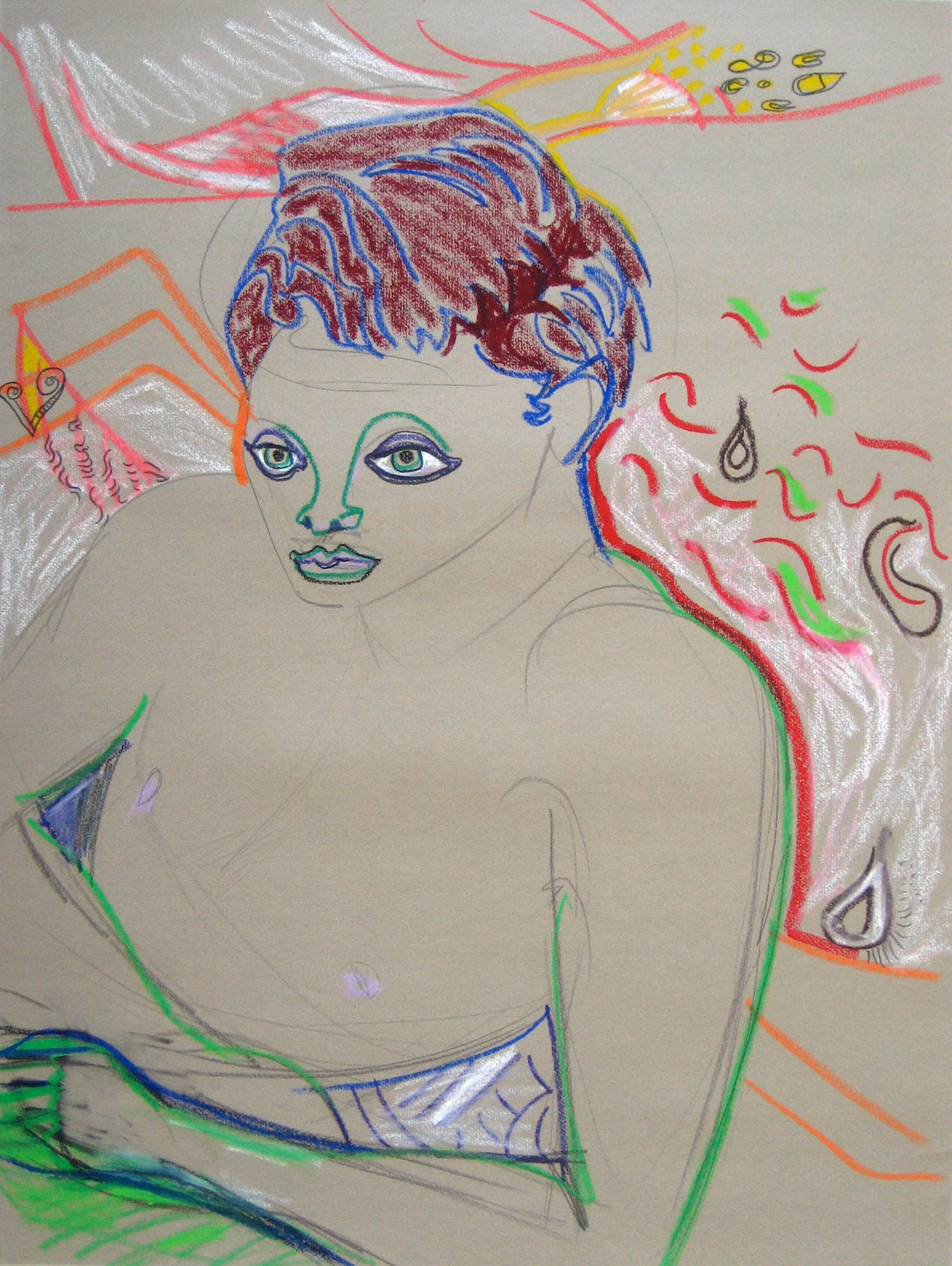 Colorful Modernist Nude <br>20th Century Pastel <br><br>#16411