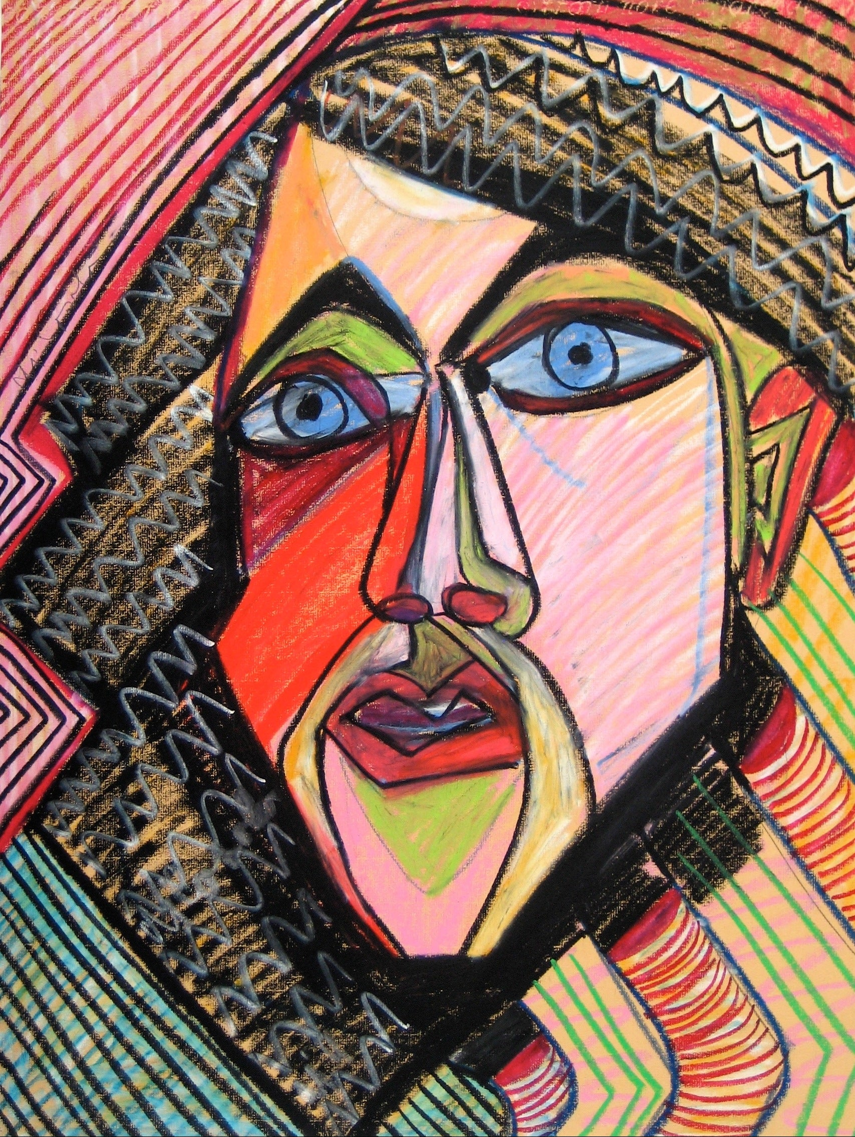 Bright Psychedelic Geometric Surreal Portrait <br>Mid to Late 20th Century Pastel <br><br>#16445