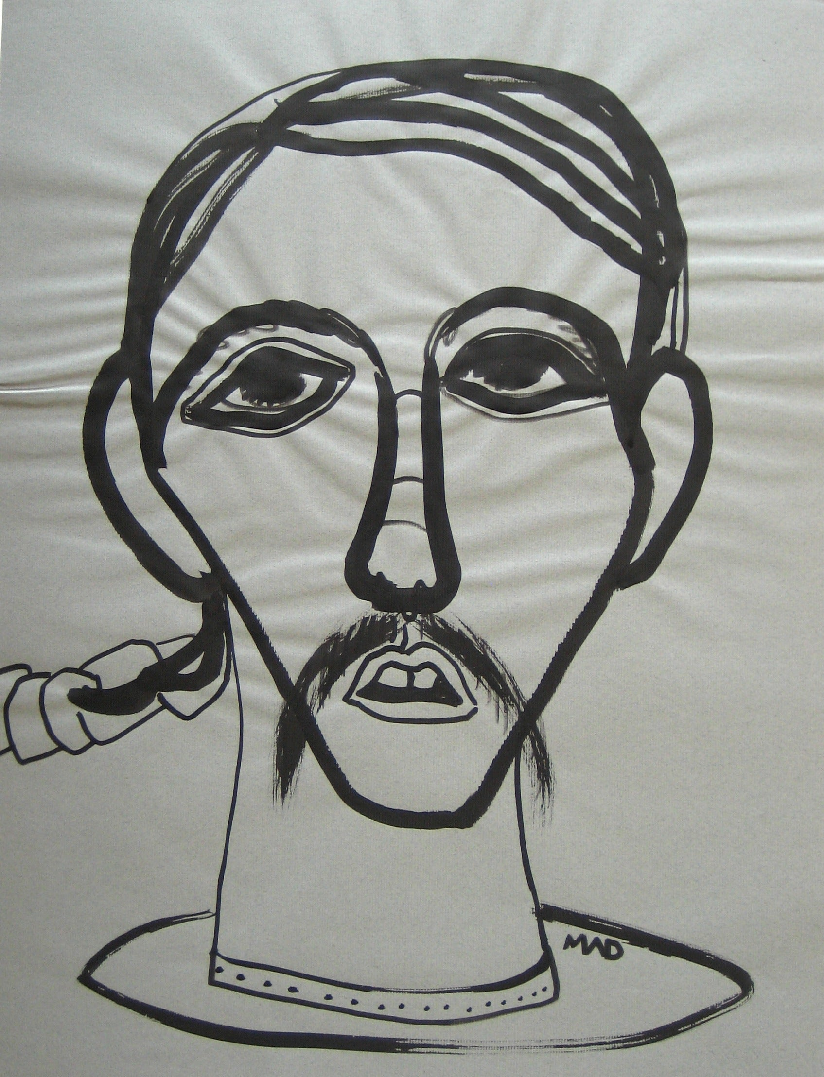 Surreal Monochromatic Portrait <br>Mid - Late 20th Century Graphite <br><br>#16451