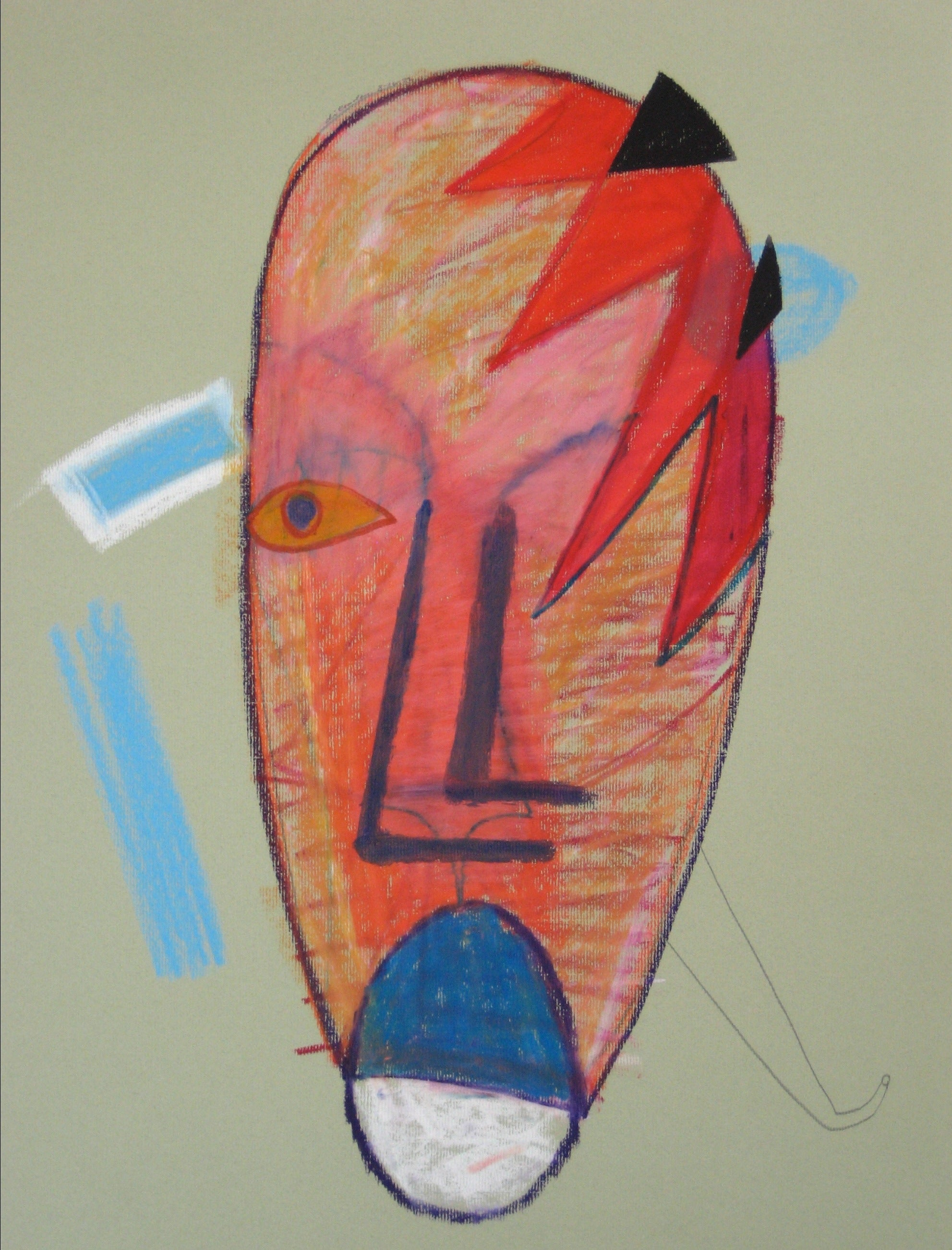 Surreal Face in Red & Blue<br>1972 Graphite & Pastel<br><br>#17190