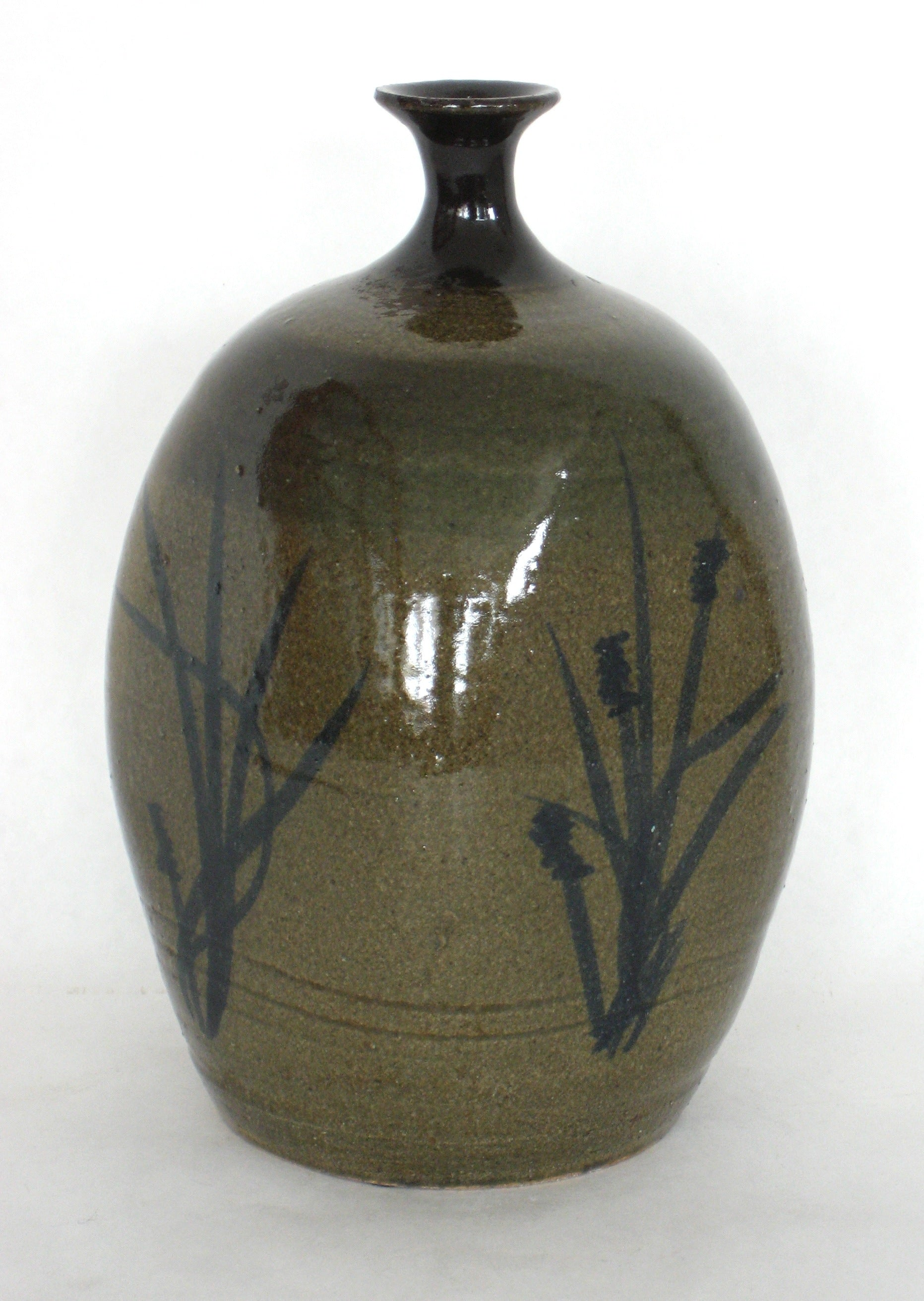 Green Ceramic Vessel With Branch Motifs <br><br>#18024