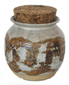 Ceramic Jar with Cork Lid<br>Mid Century<br><br>#19163