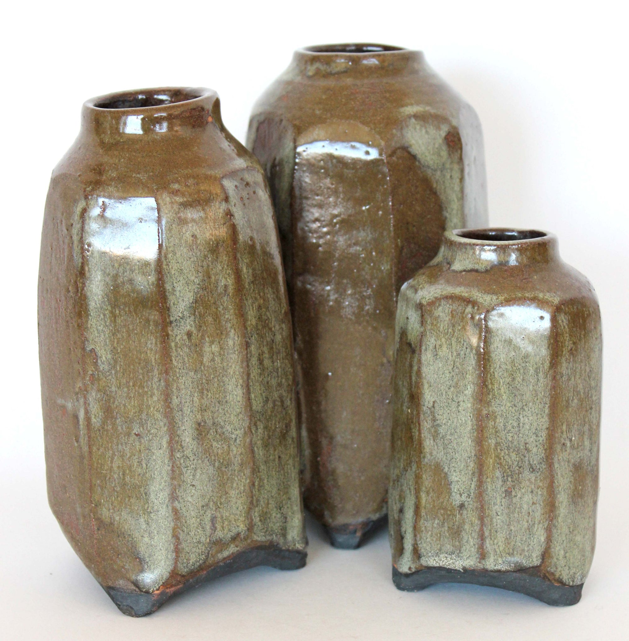 Linked Ceramic Trio<br>Mid Century<br><br>#19171