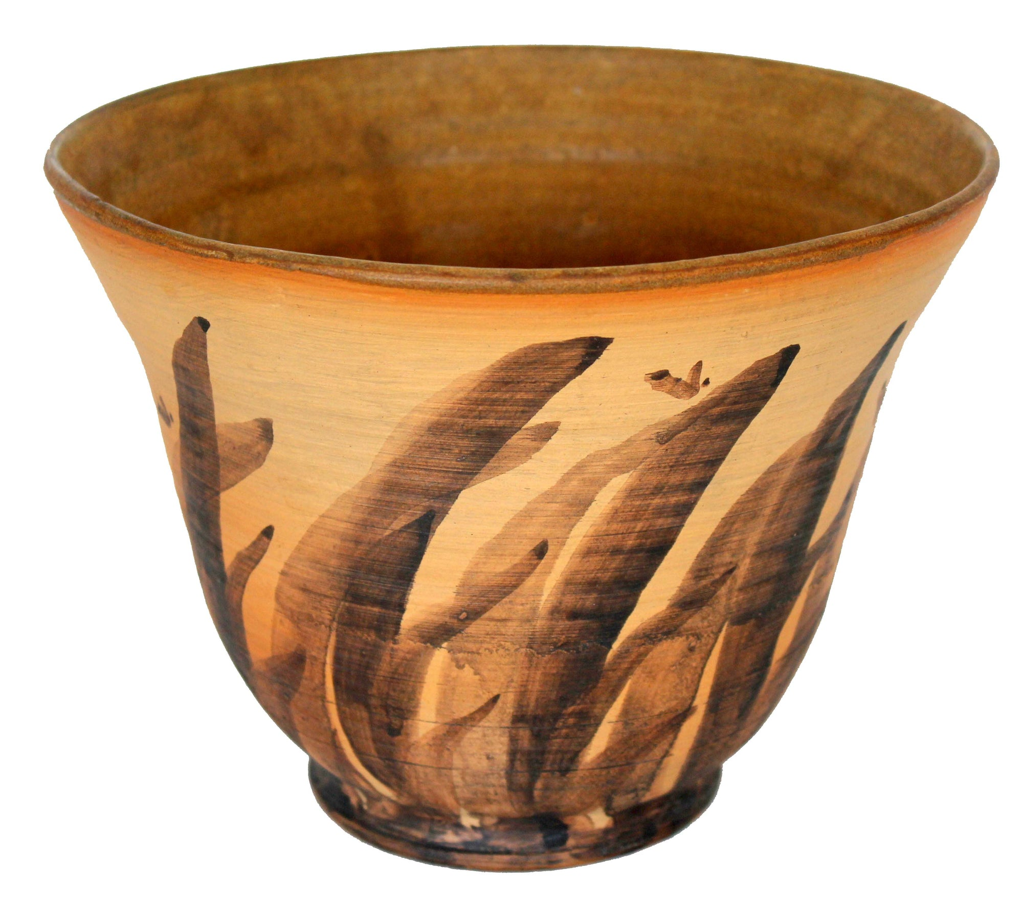 Brown Vessel with Abstracted Brushstroke Patter<br>Mid Century Ceramic<br><br>#19173