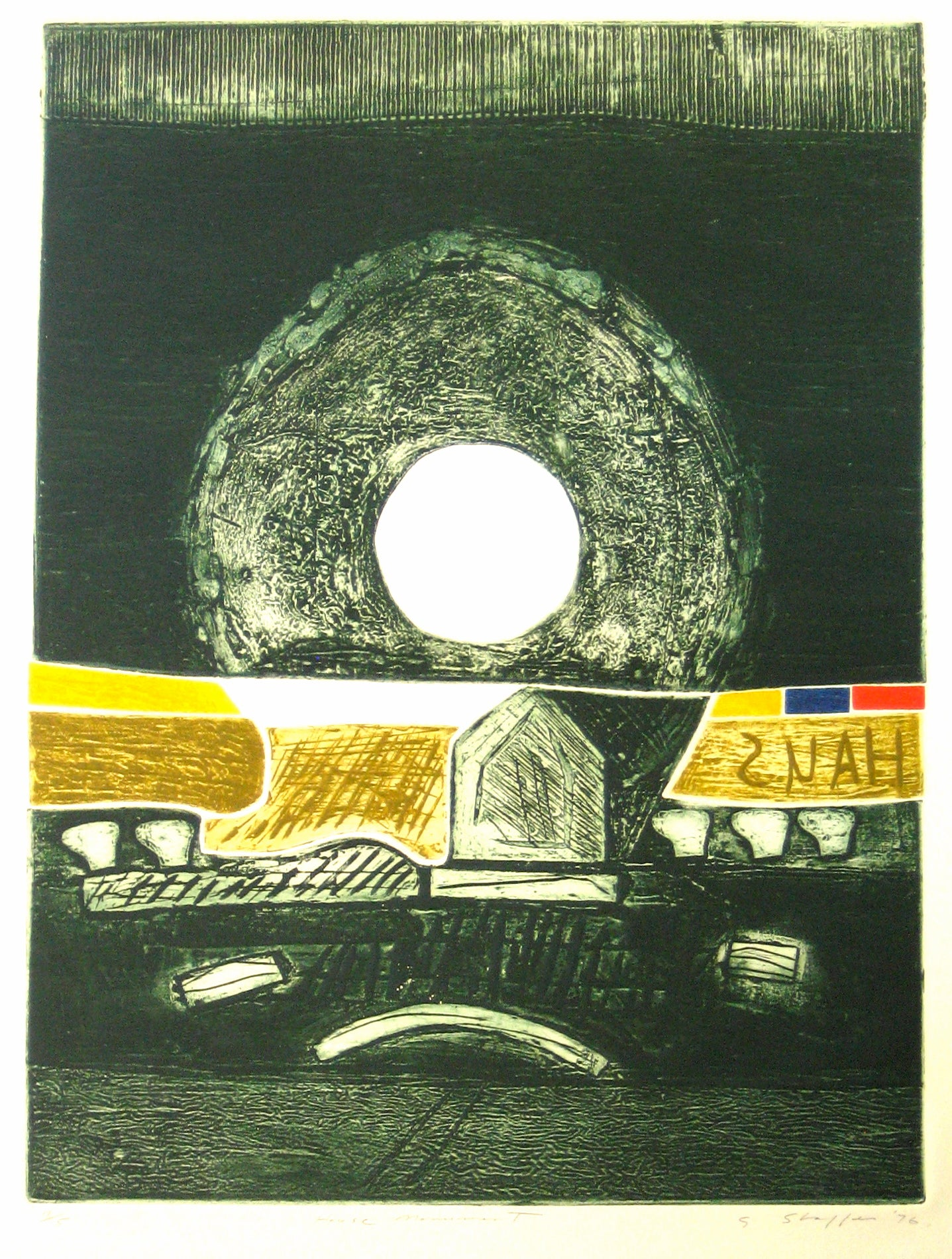 <i>House Monument</i> <br>1976 Collograph Abstract <br><br>#11955