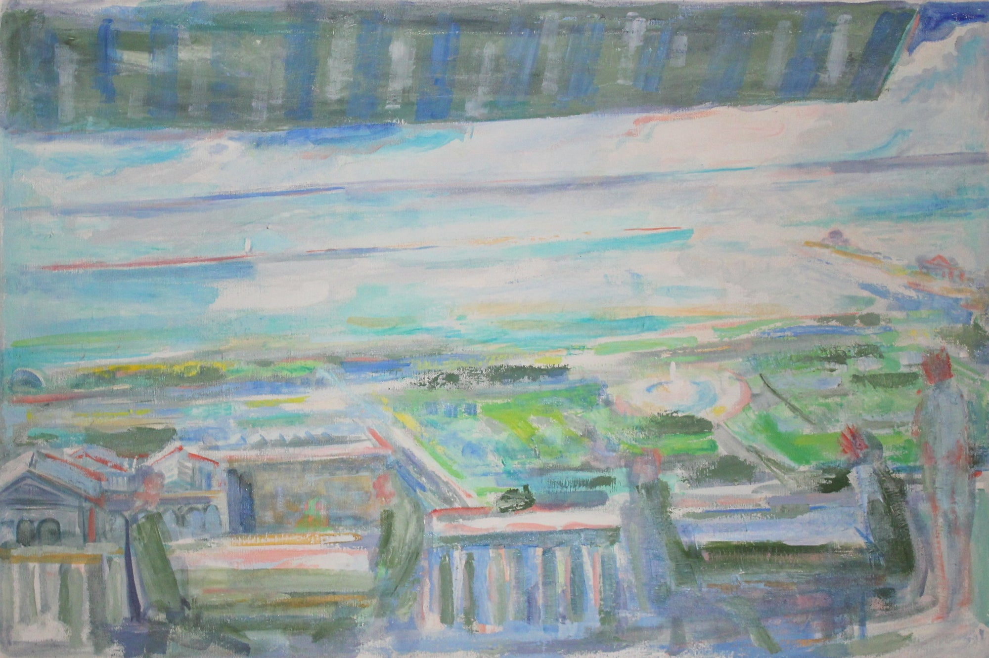 <i>Lake Michigan from Cliff Dwellers Balcony</i><br>Mid Century Oil<br><br>#19597