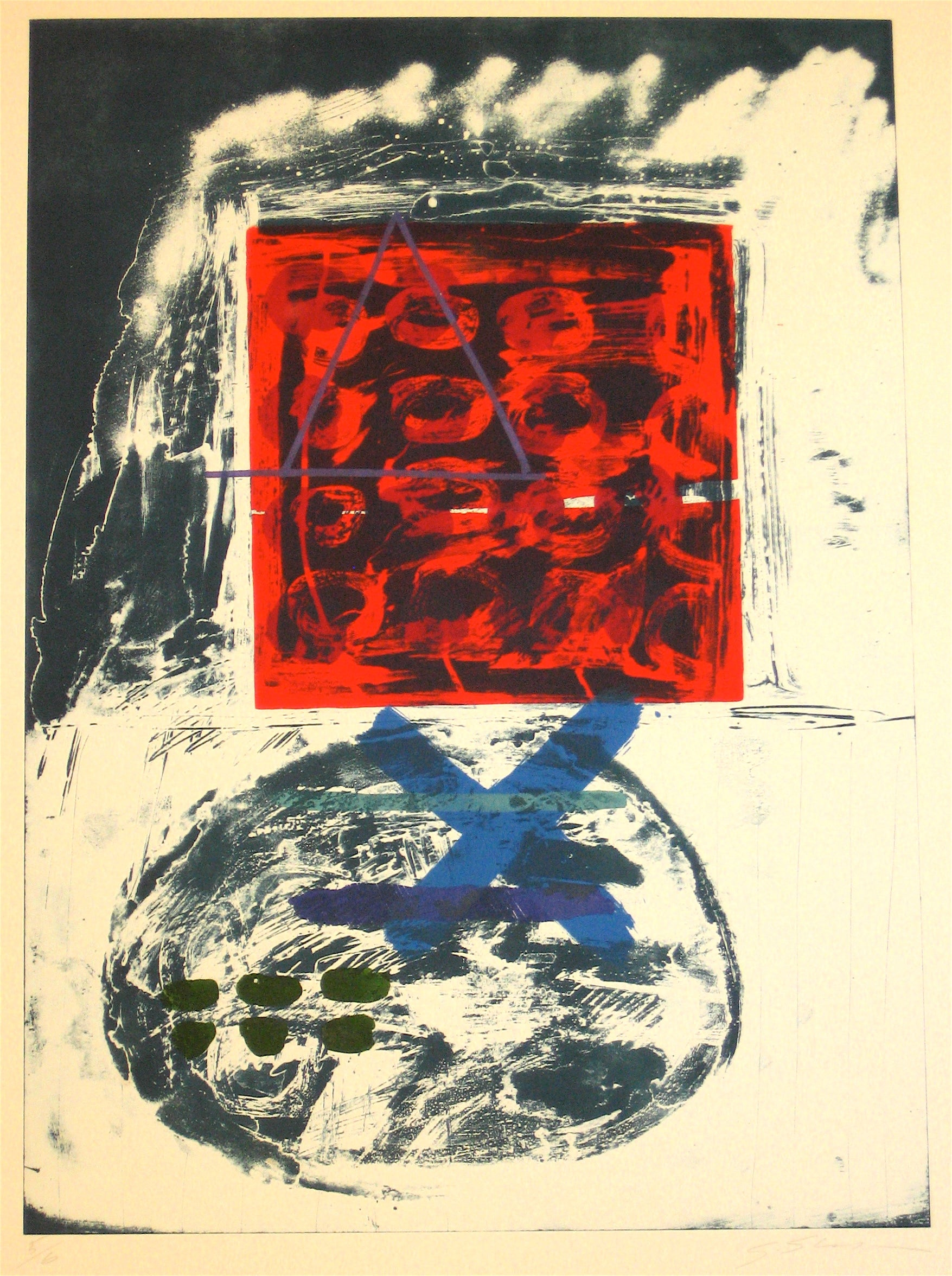 Abstract Expressionist 1966 Dark Red & Blue Stone Lithograph <br><br>#11968