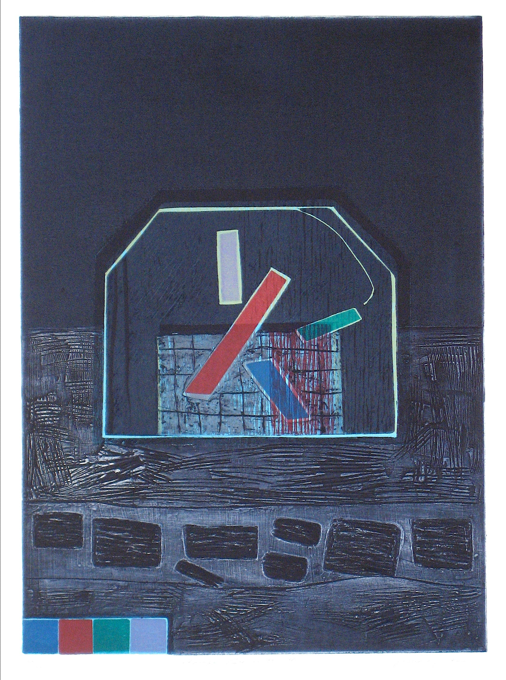 <i>House Grid #64</i> <br>1970s-1980s Collograph Abstract <br><br>#12010
