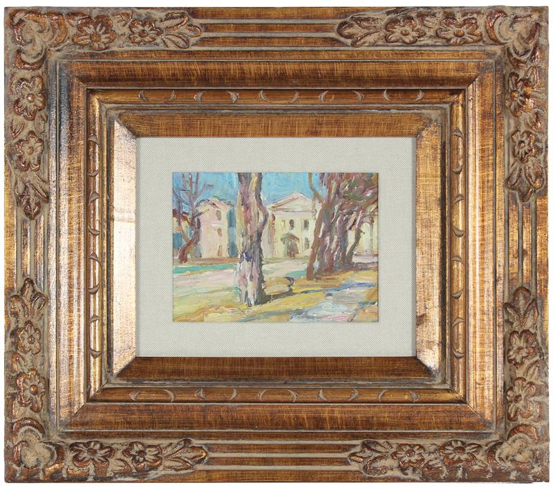 <i>Yard in Odessa</i><br>1963 Oil Winter Scene<br>Michail Cherni<br><br>#18159