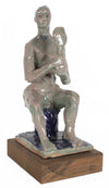 Seated Figure with Mirror<br>2000s Clay Sculpture<br><br>#20256
