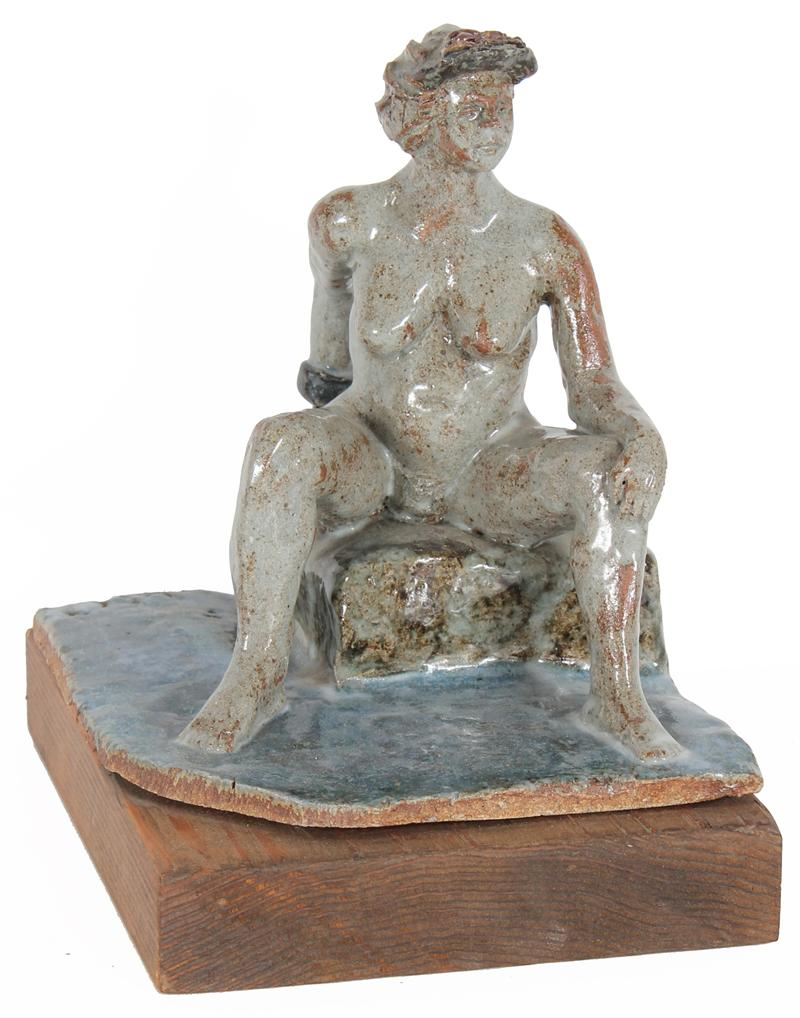 Modernist Seated Nude<br>July 1997 Clay on Wood<br><br>#20292