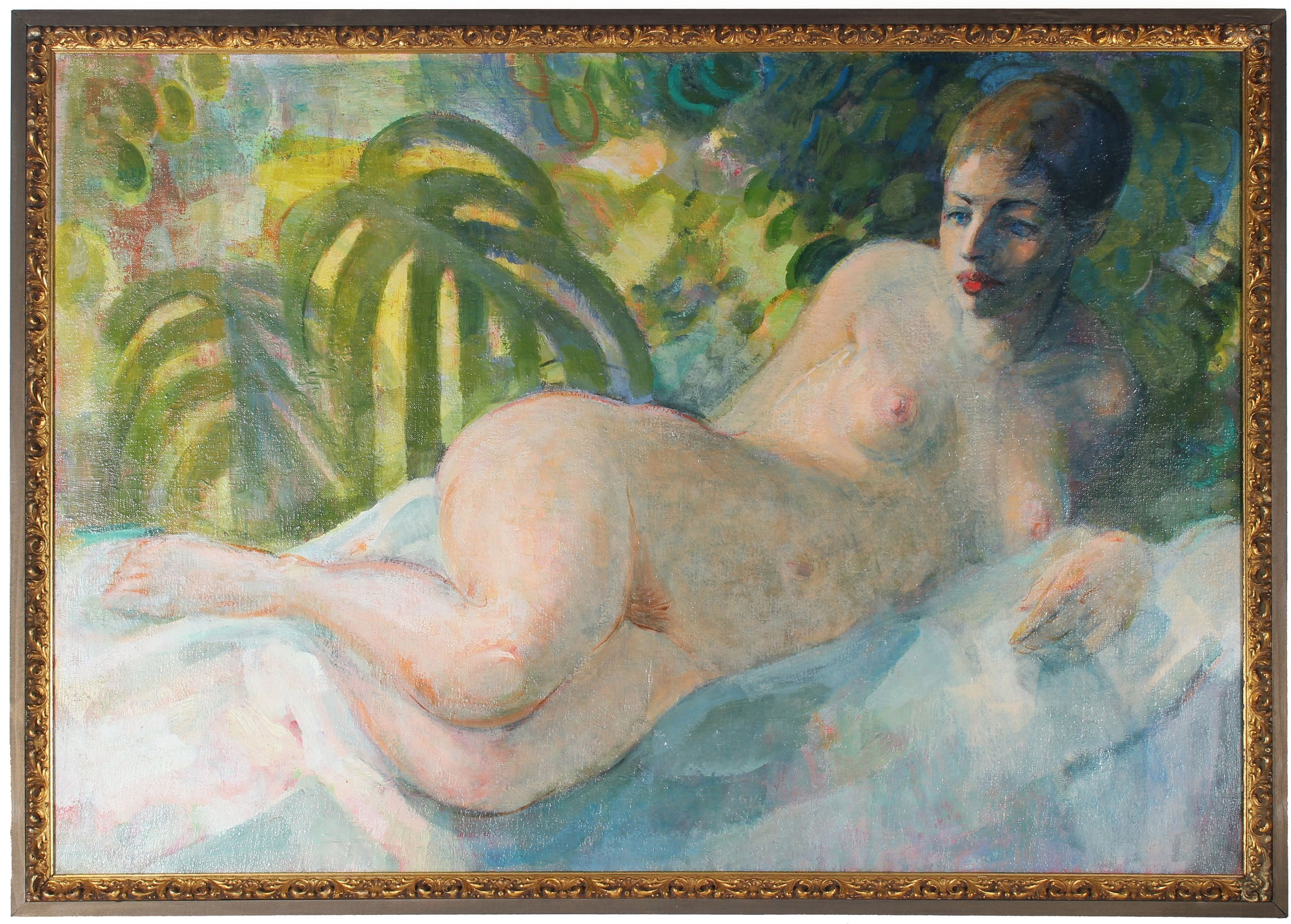 Relaxed Reclining Nude <br>Mid Century Oil <br><br>#21077