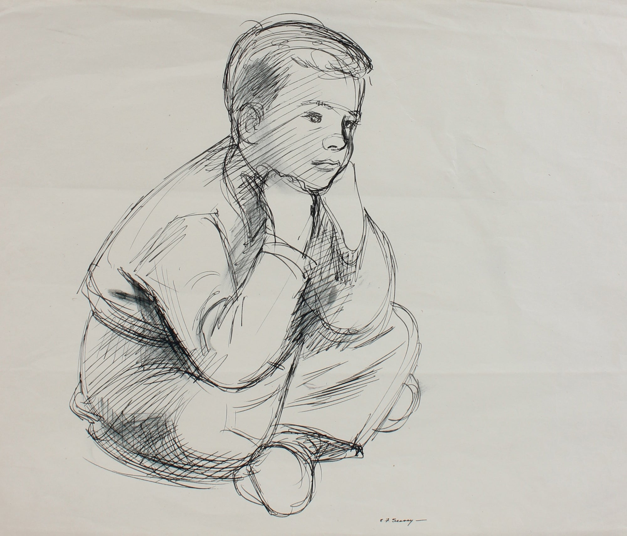 Contemplative Seated Young Boy <br>1930-40s Ink <br><br>#0020