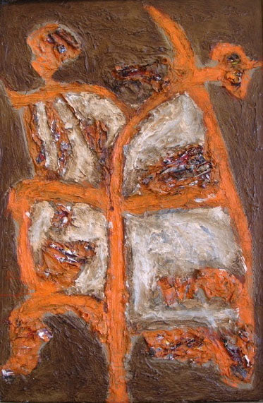 Mid Century Textured Abstraction<br>Oil on Canvas<br><br>#2199