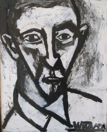 Bold Portrait in Black & White<br>Mid Century Oil<br><br>#2203A