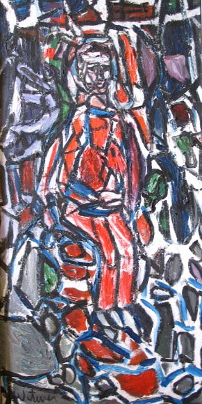 Figure in Abstraction<br>Mid Century Oil<br><br>#2209A