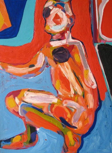 Mid Century Figurative Abstract<br>Oil on Canvas<br><br>#2214A